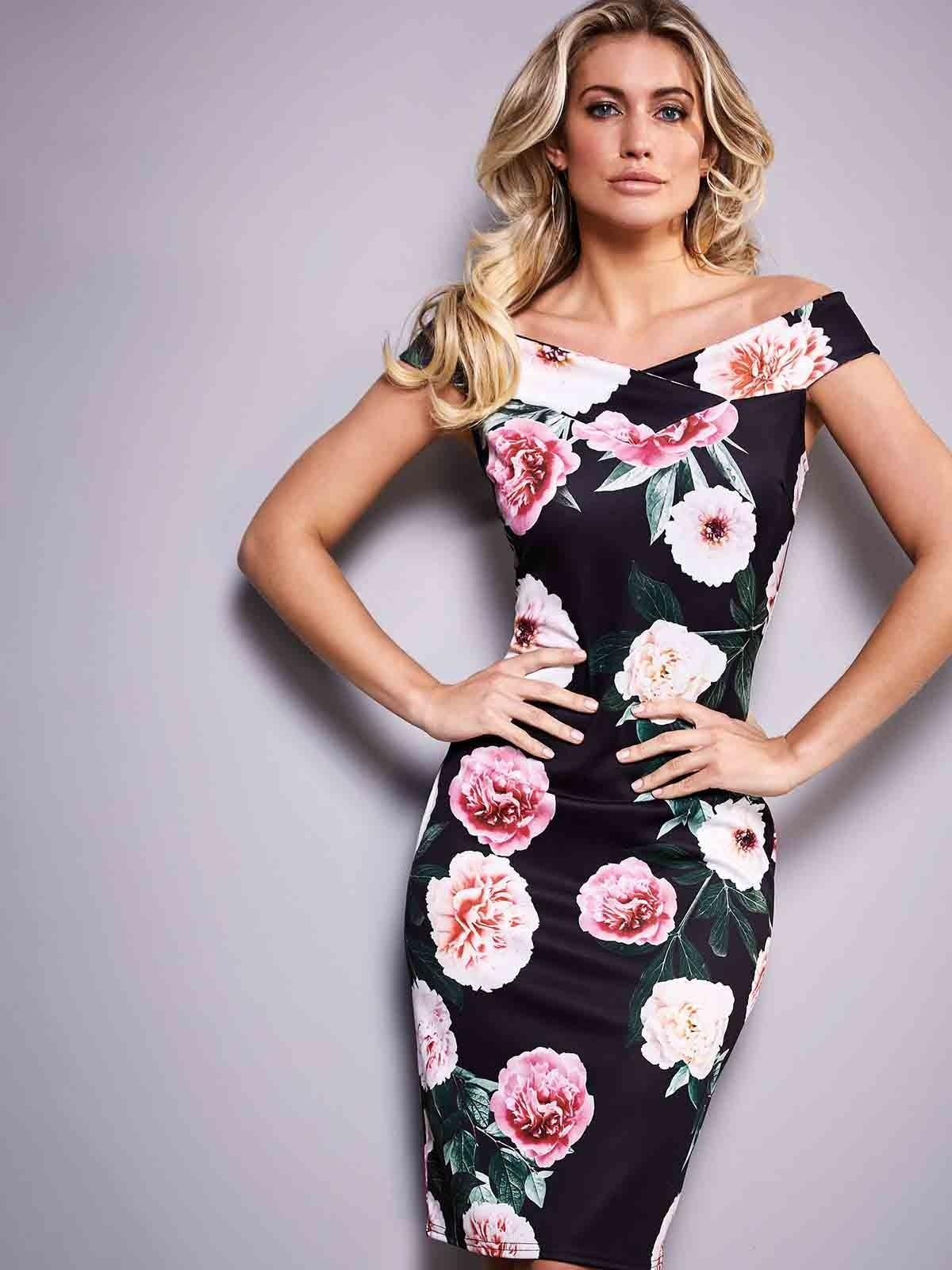 Stand out in this best-selling dress, with bold florals and a chic, bardot cut.