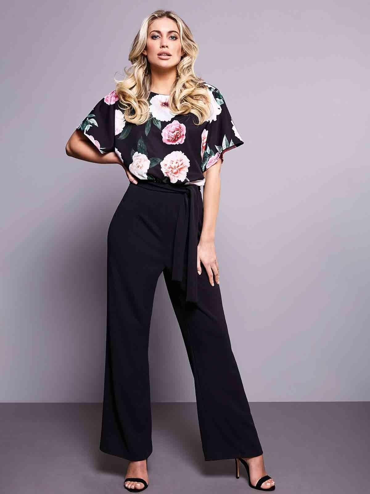 Pretty and practical, our best-selling, floral-block jumpsuit has batwing sleeves and a stylish, wide-leg design.