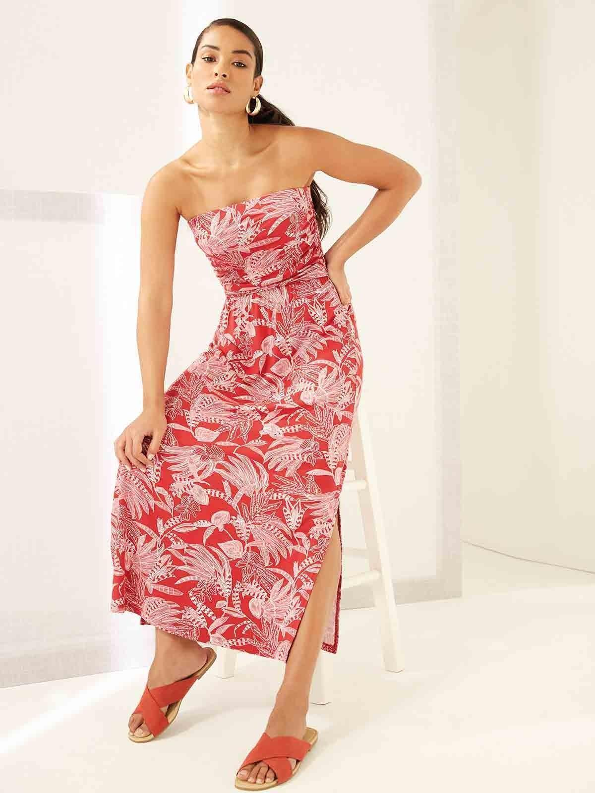 A red, strapless maxi dress is just what we need for beach parties and BBQs- no wonder it was an April best seller.