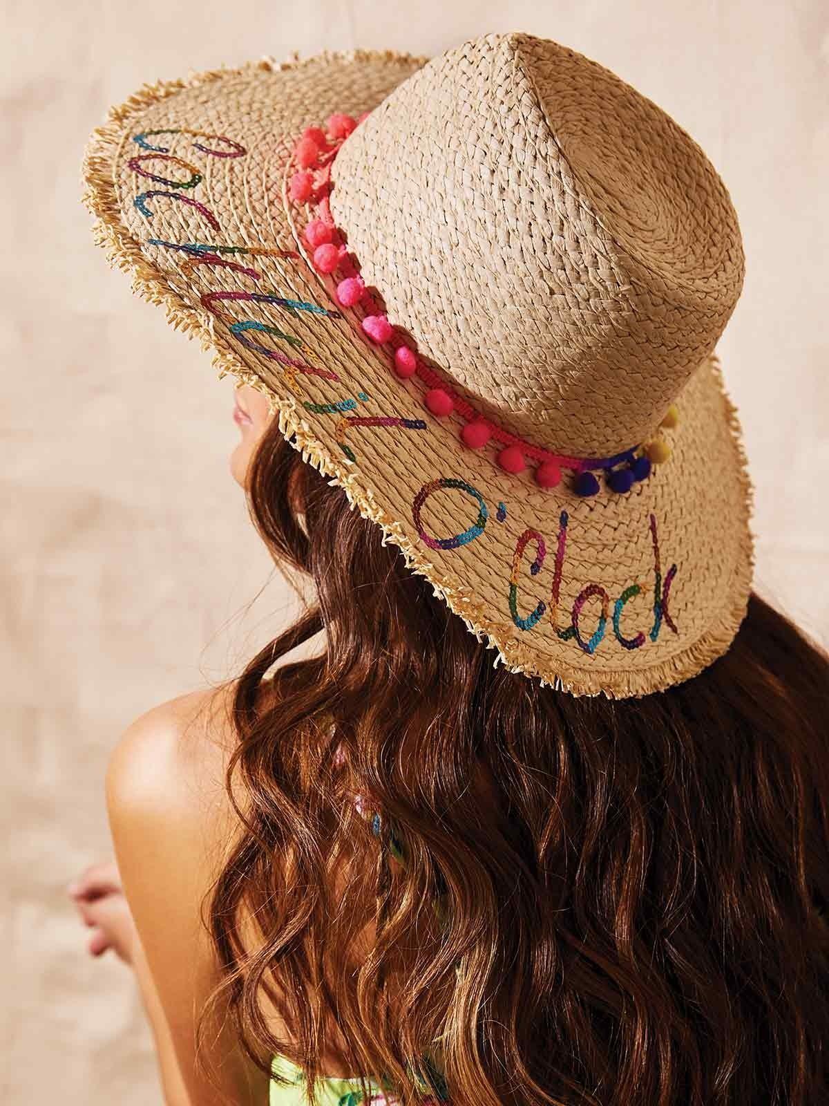 c617a3bf5 Womens Straw Floppy Slogan Hat | Peacocks