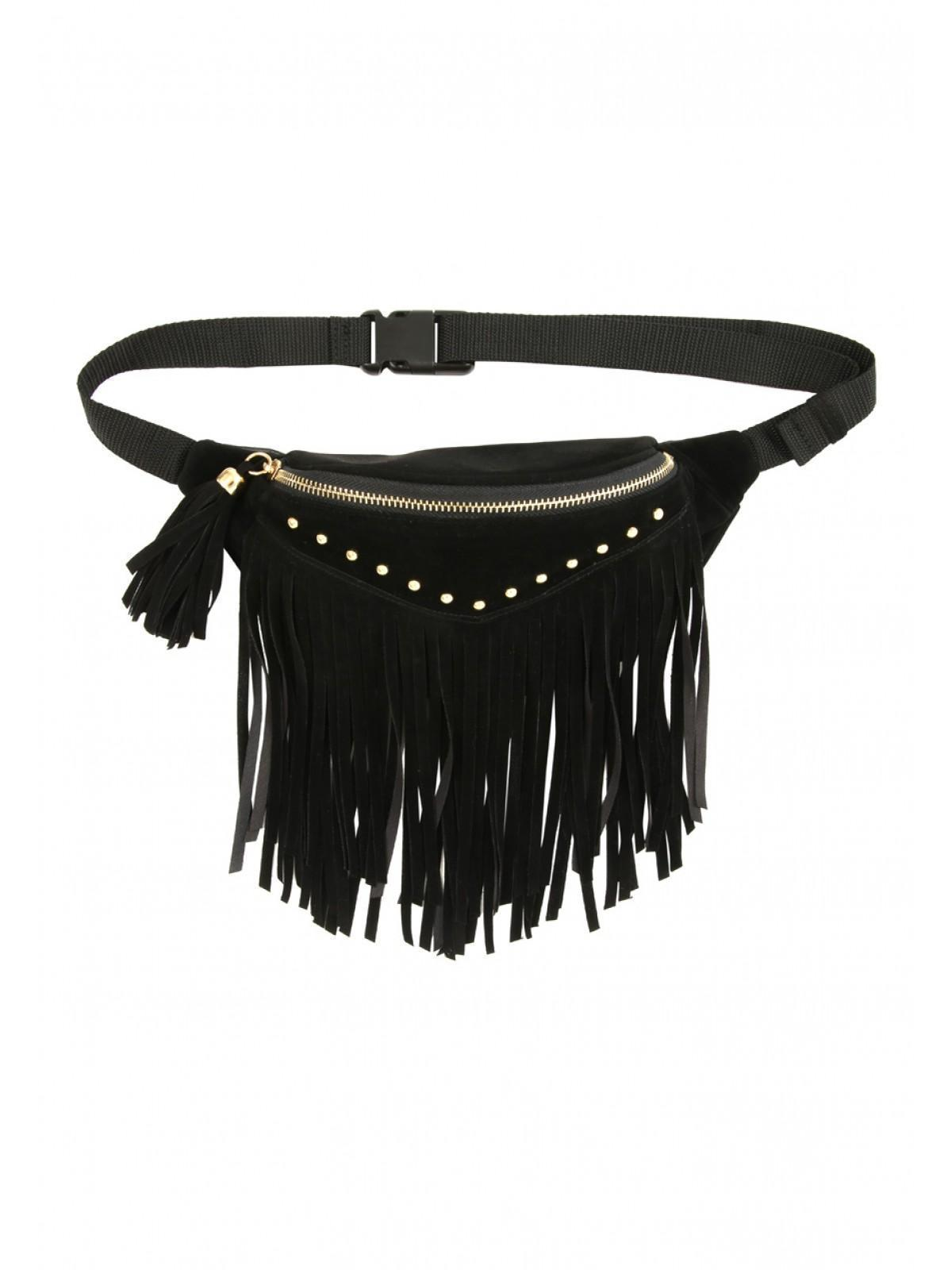 Womens Black Fringe Bumbag | Peacocks