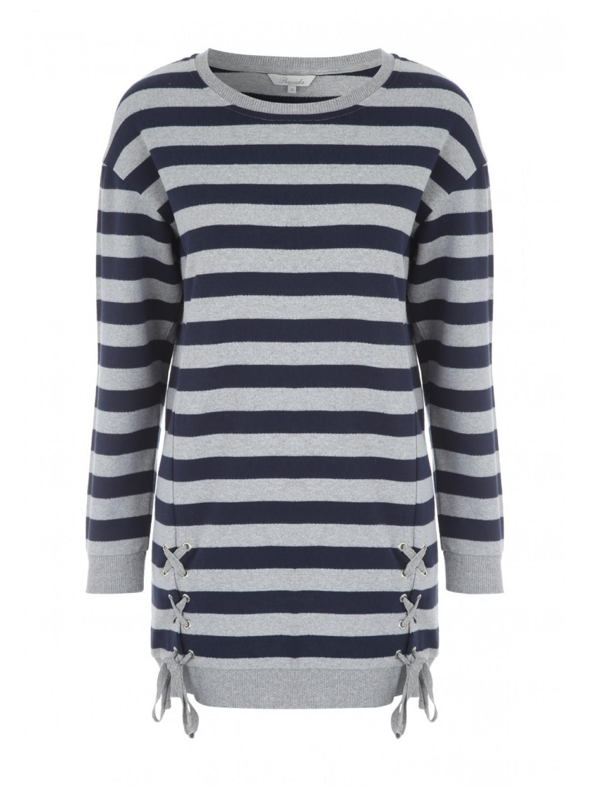 Womens Striped Lace Up Front Sweater  f0a79b881