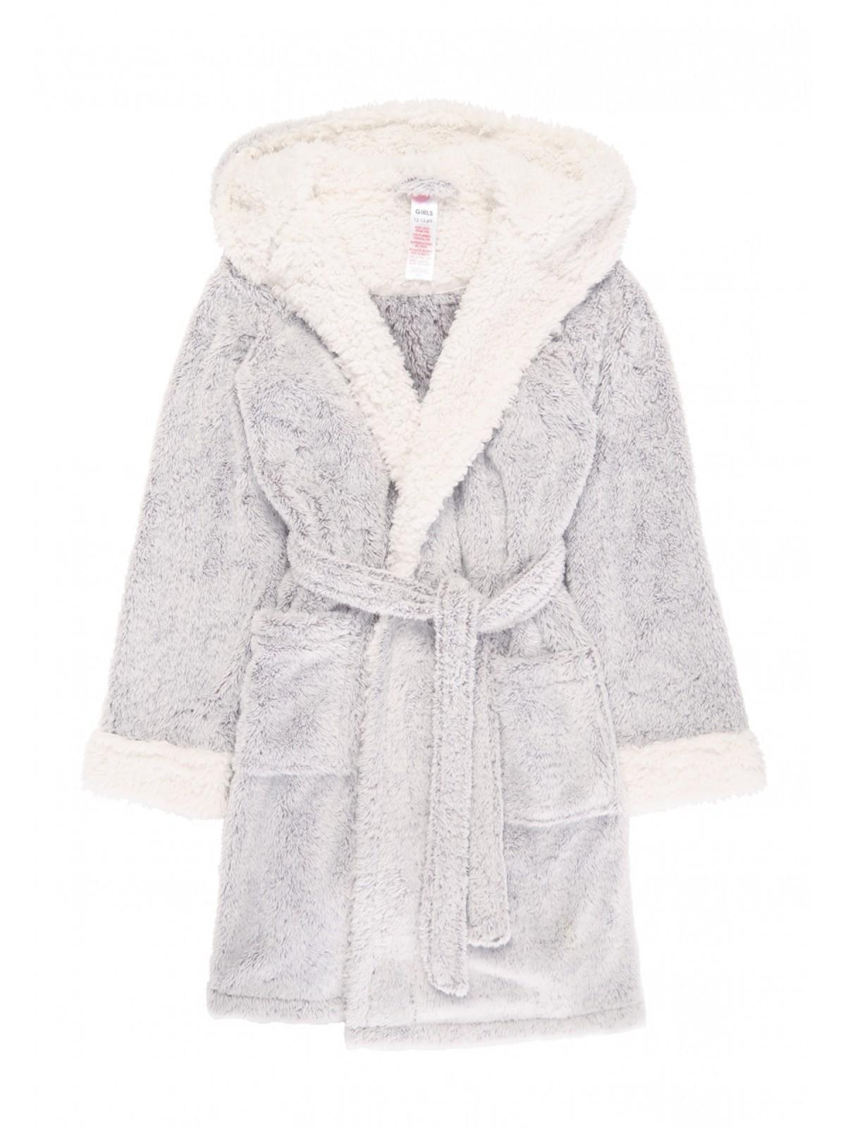 Girls Grey Sherpa Dressing Gown | Peacocks