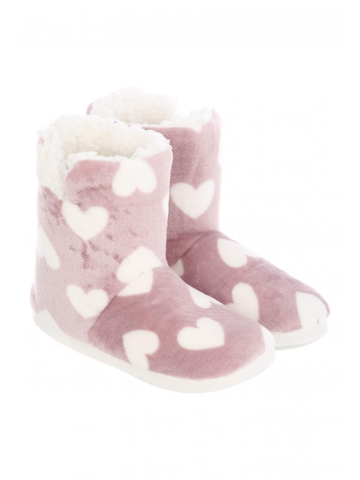 3143ef77c959 Womens Pink Heart Slipper Boots