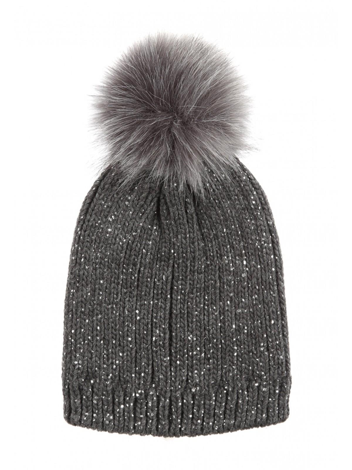 cfa9e625f Knit Hat With Big Fluffy Pom Pom