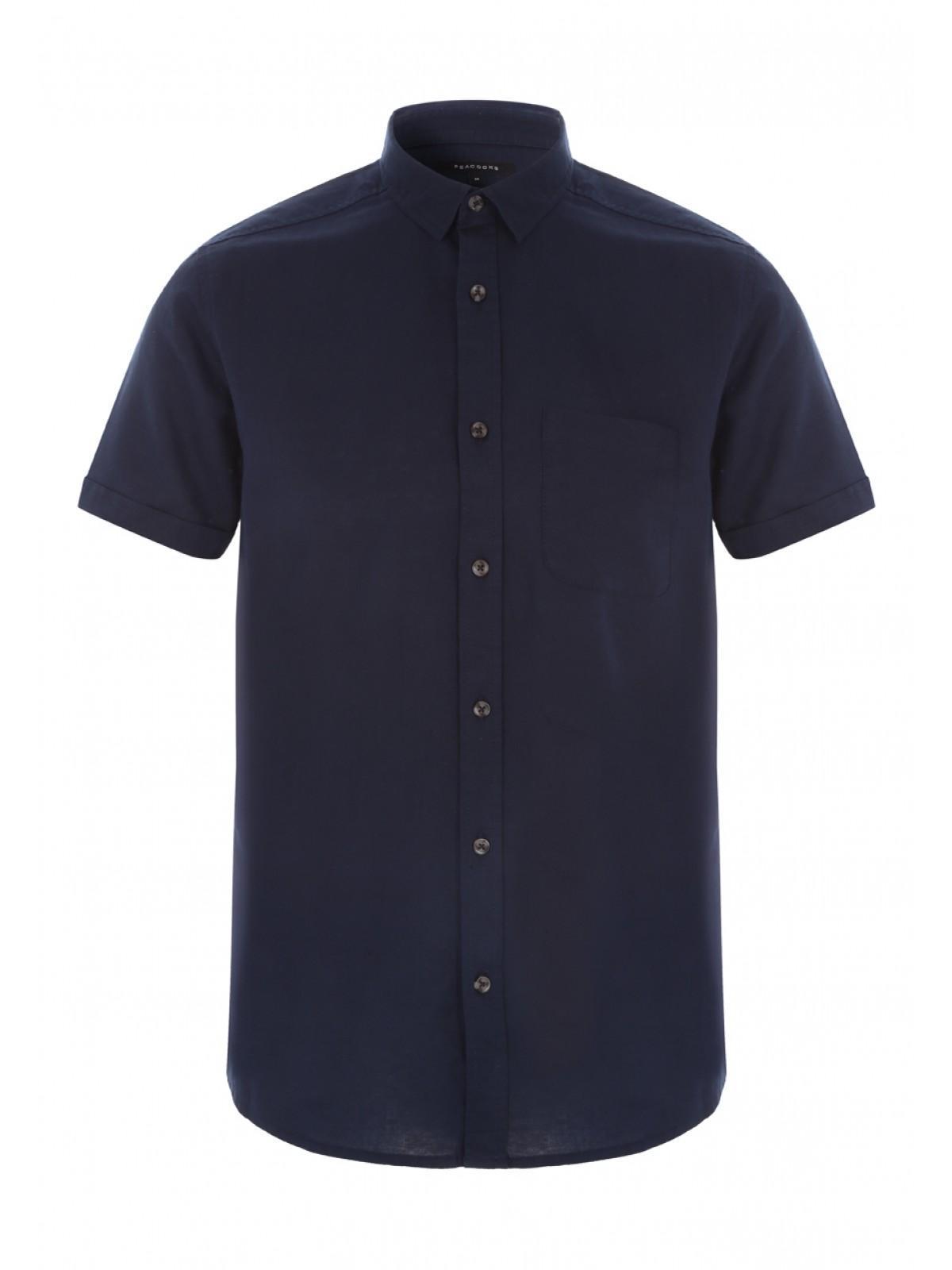 d5917cebc5aa Home; Mens Dark Blue Short Sleeve Linen Shirt. Back. PreviousNext