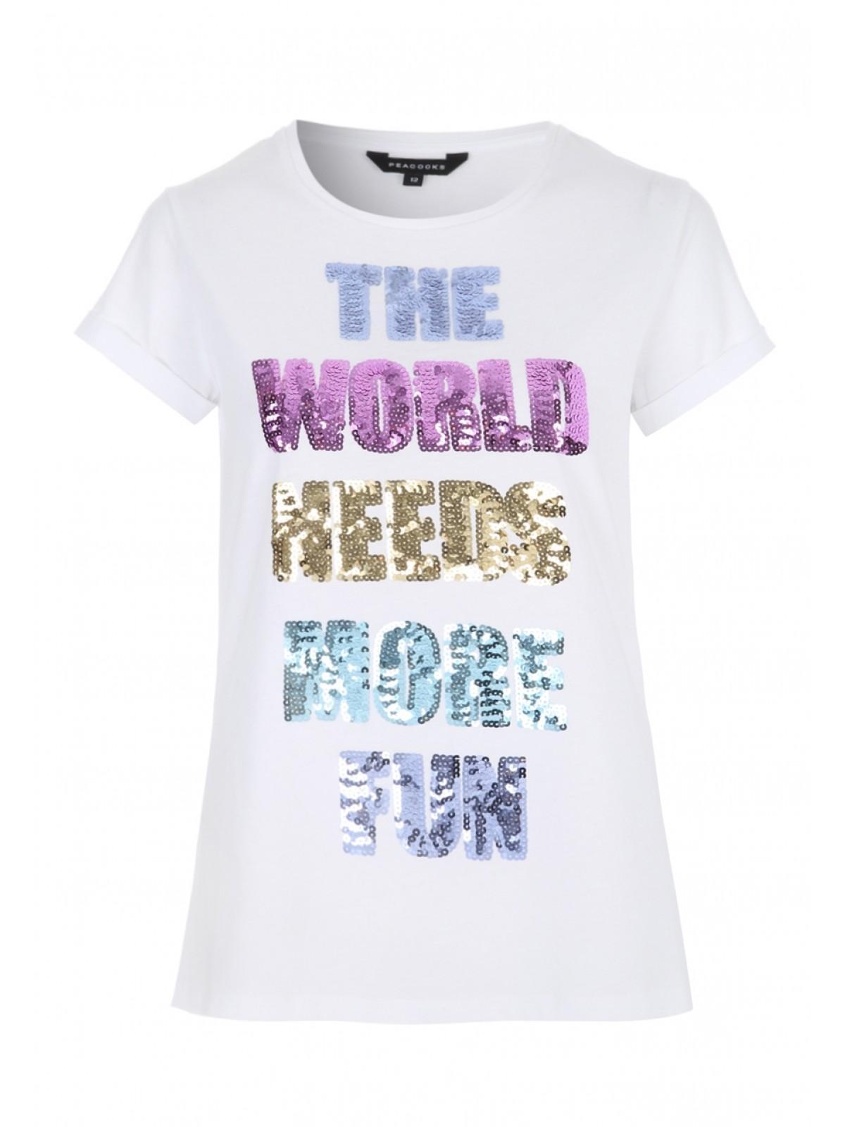 c43990674859 Womens White Sequin Slogan T-Shirt   Peacocks