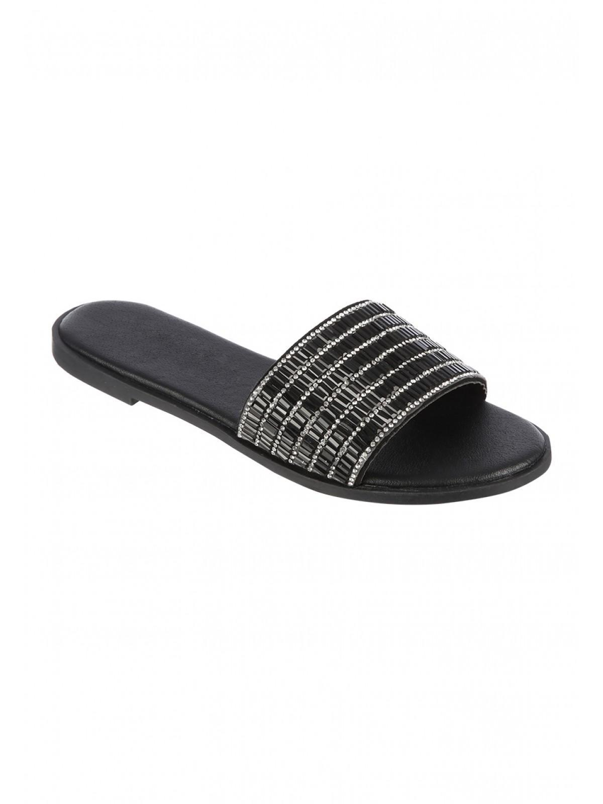 20ffa5df4493 Womens Black Diamante Mule Sandals