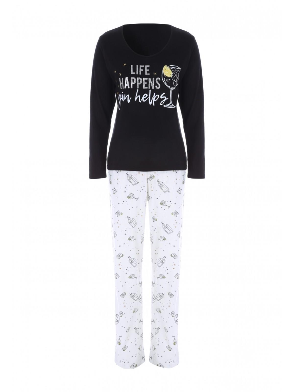 men/man amazing quality harmonious colors Womens Black Slogan Pyjama Set