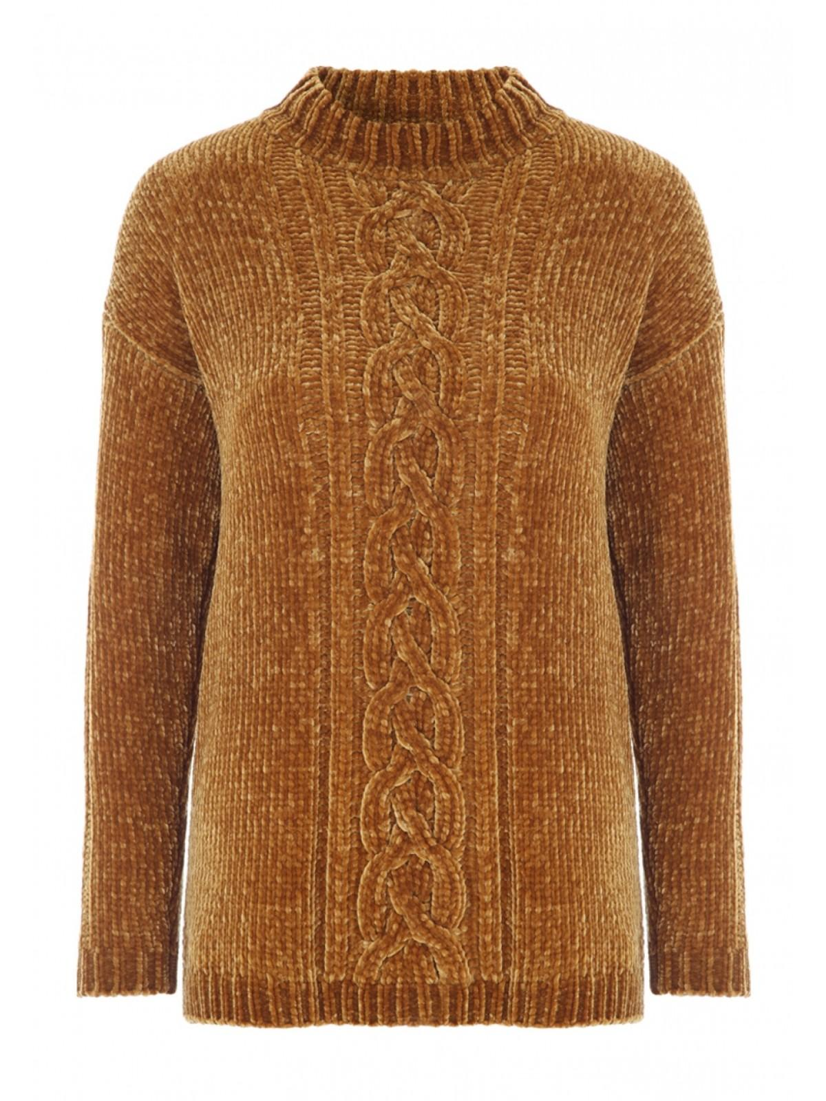 c03960b3dba16c Home; Womens Mustard Cable Knit Chenille Jumper. Back. PreviousNext