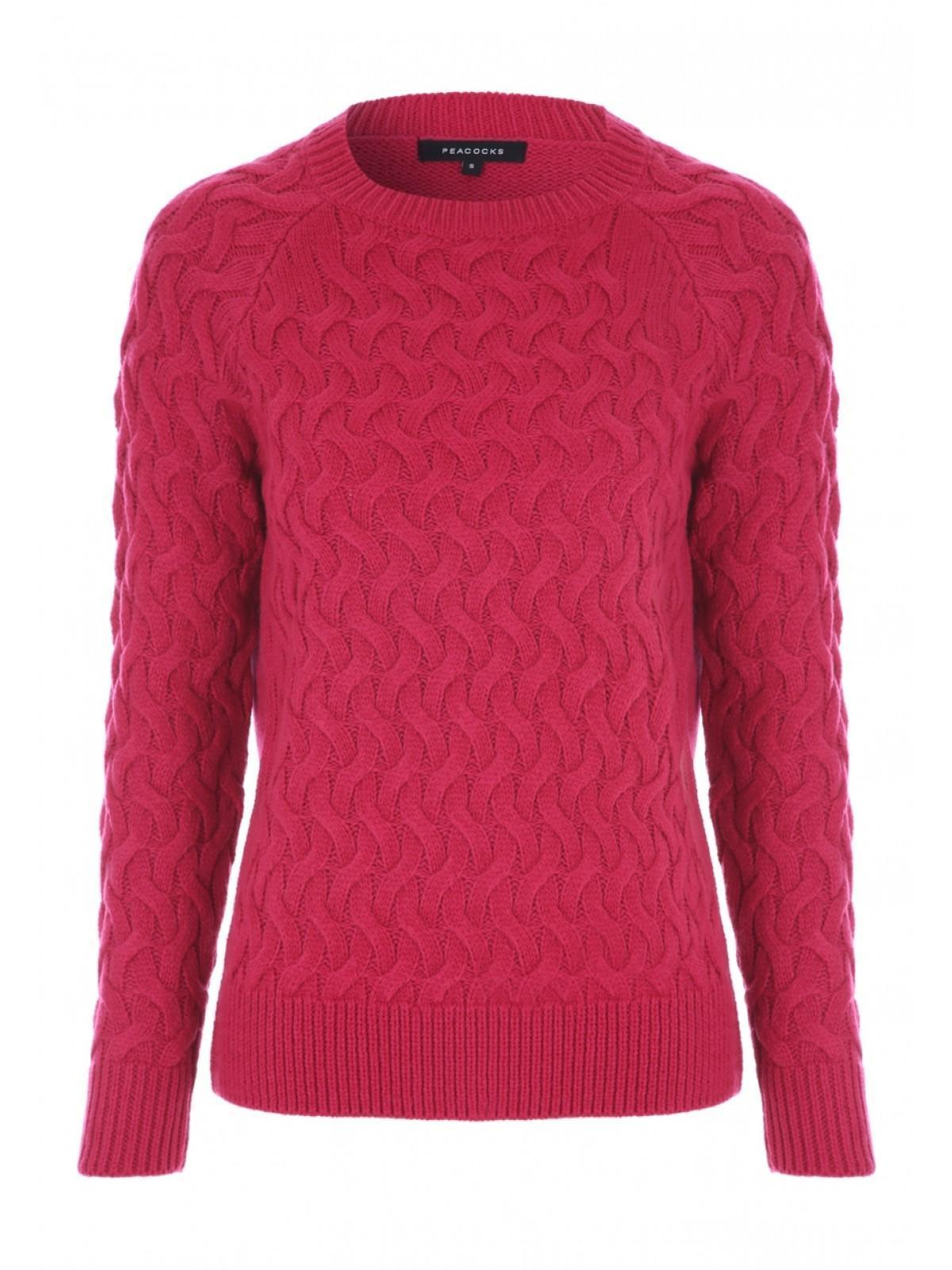 1d5ef049a00 Womens Pink 3D Cable Knit Jumper