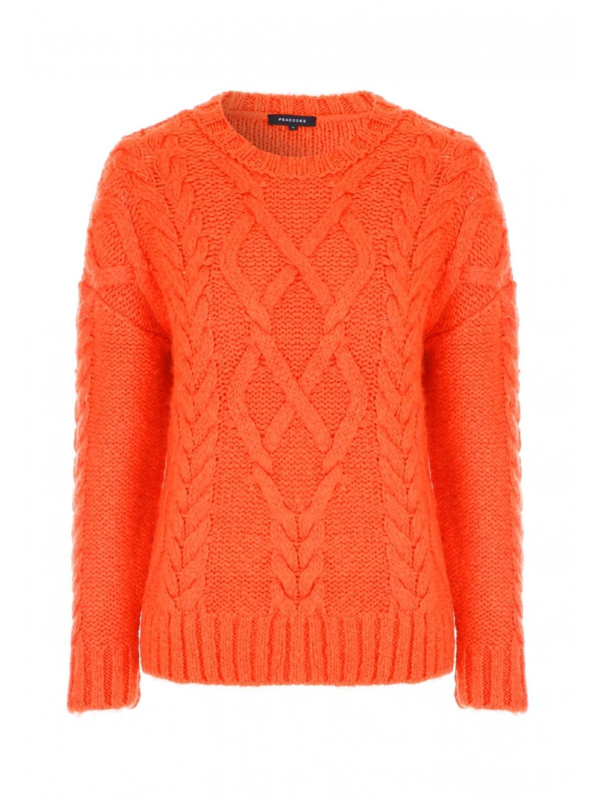 302239adcbd Womens Orange Cable Knit Jumper