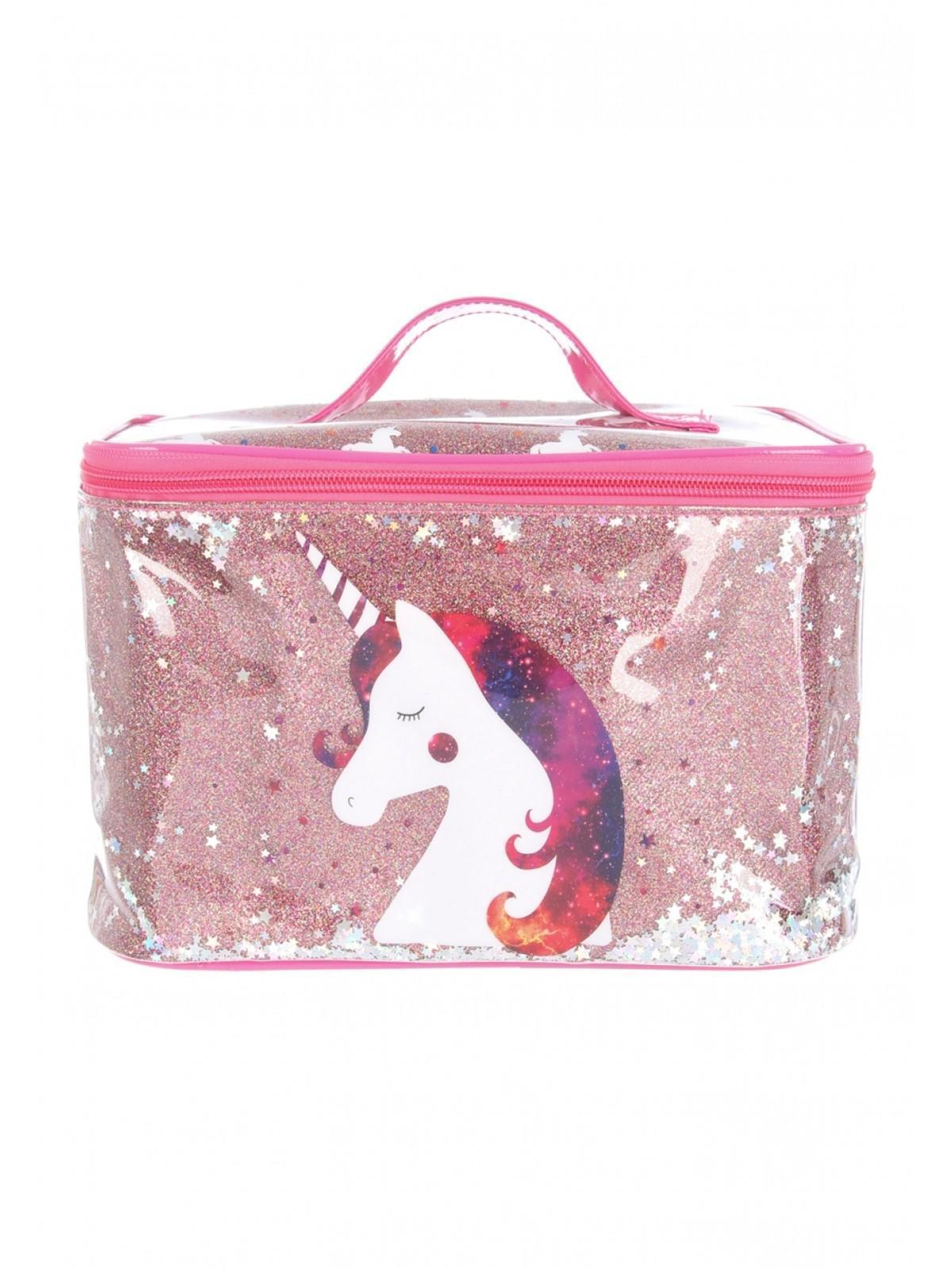 Pink Unicorn Moving Sequin Vanity Case