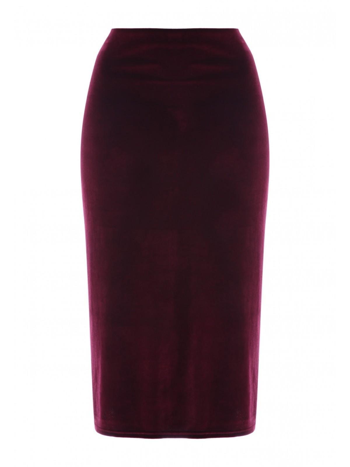 5da4e3d6c9 Home; Womens Wine Velvet Pencil Skirt. Back. PreviousNext