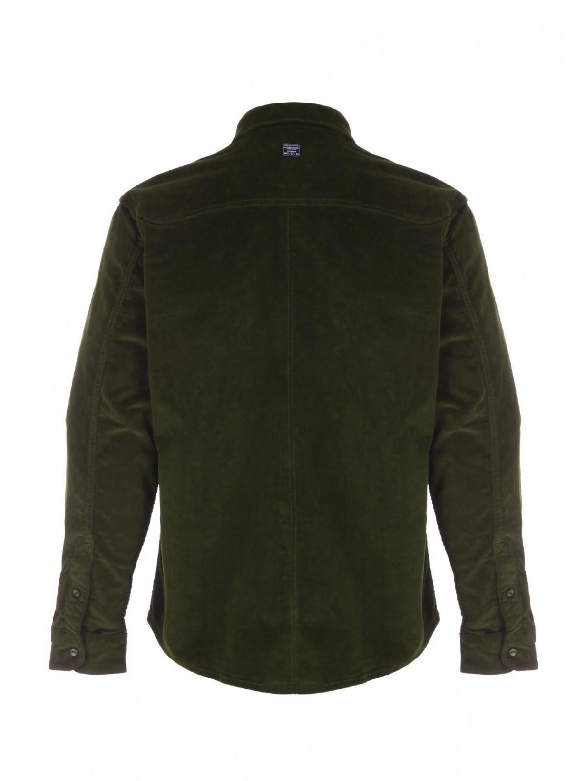 2697e176d607 Mens Dark Green Cord Long Sleeve Shirt   Peacocks
