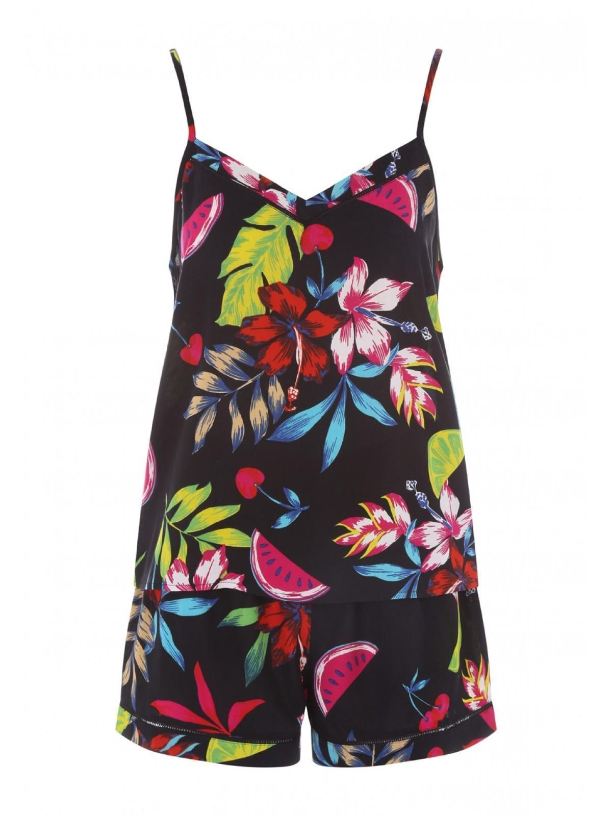 ec7dae45c4 Home; Womens Black Tropical Top And Short Pyjama Set. Back. PreviousNext