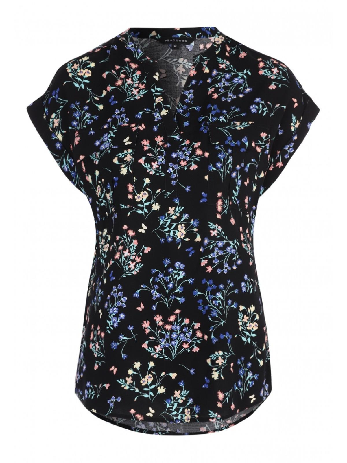 1592261b9c994d Home; Womens Black Floral Butterfly Short Sleeve Blouse. Back. PreviousNext