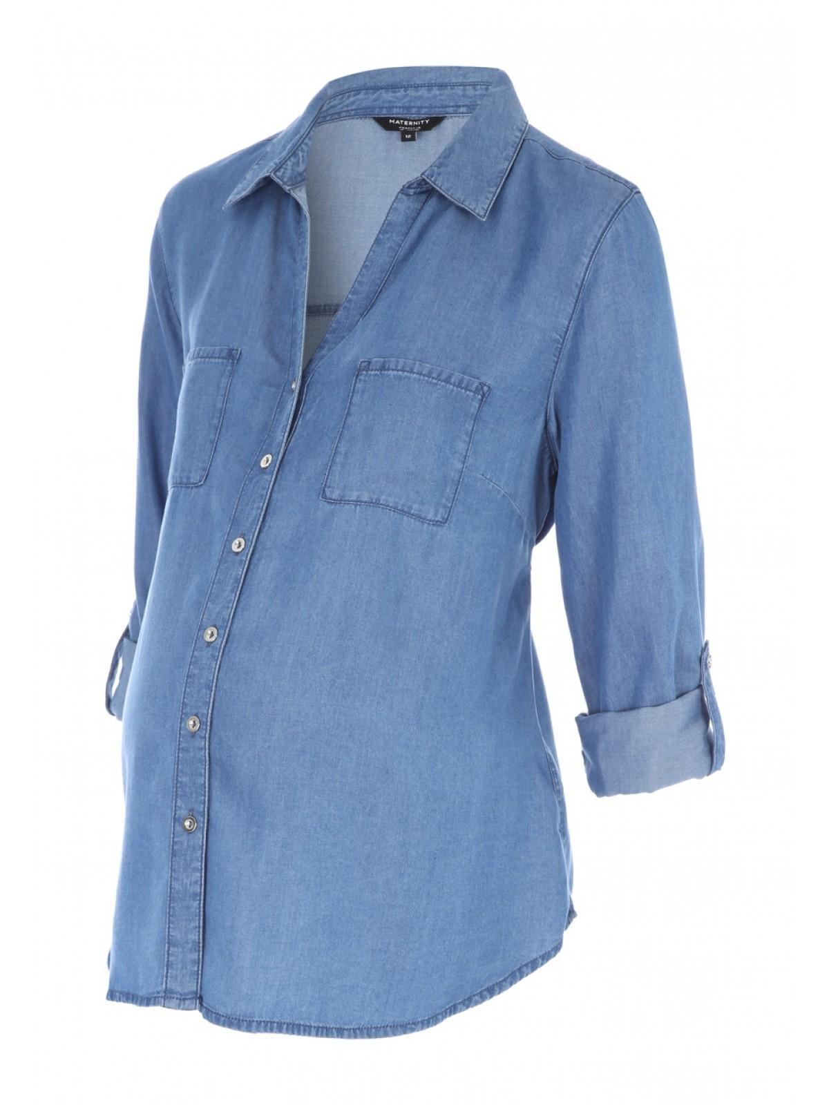 c3a20559f46cc Home; Maternity Blue Tencel Denim Shirt. Back. PreviousNext