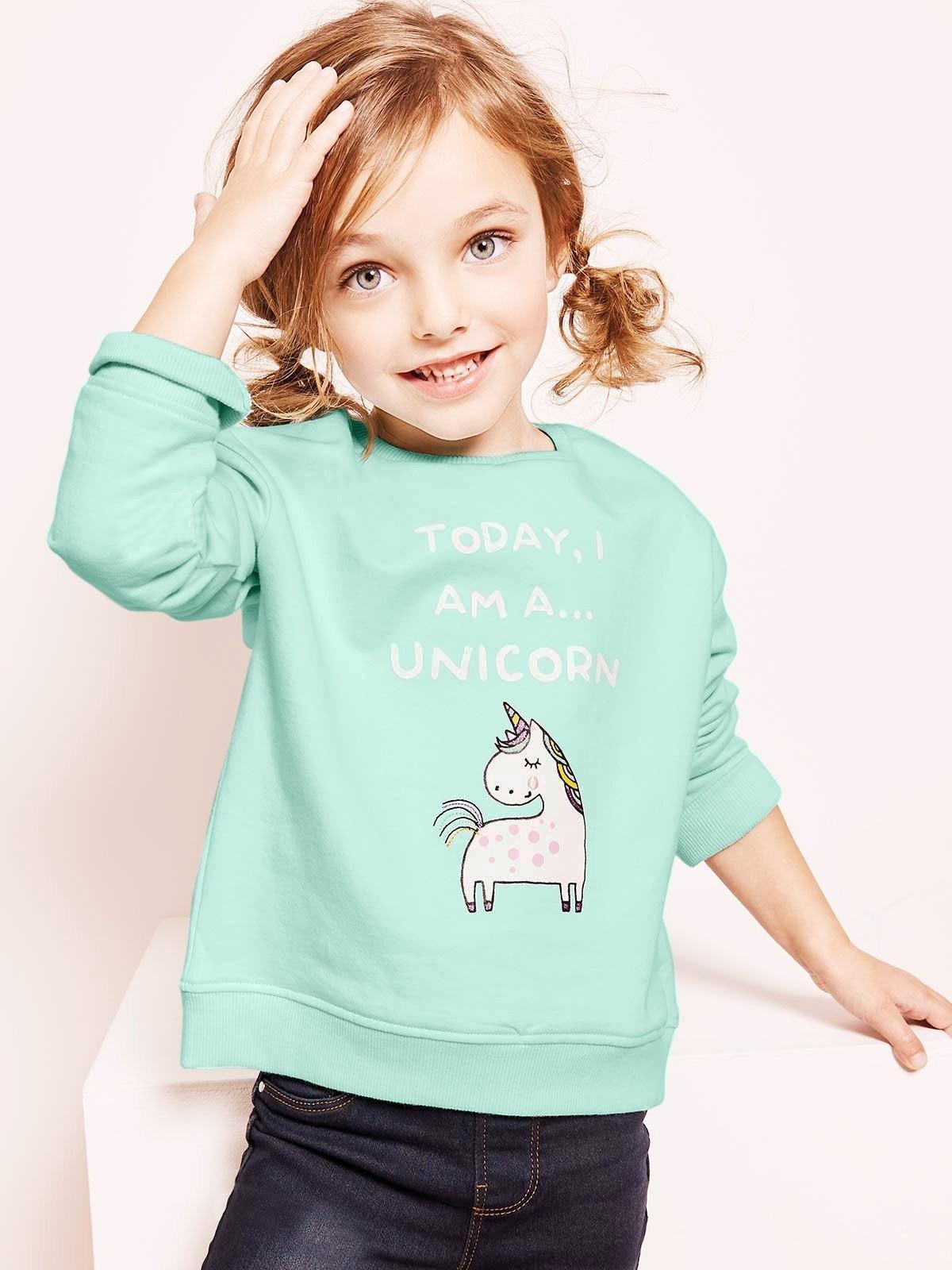 Young Girls Aqua Unicorn Sweater