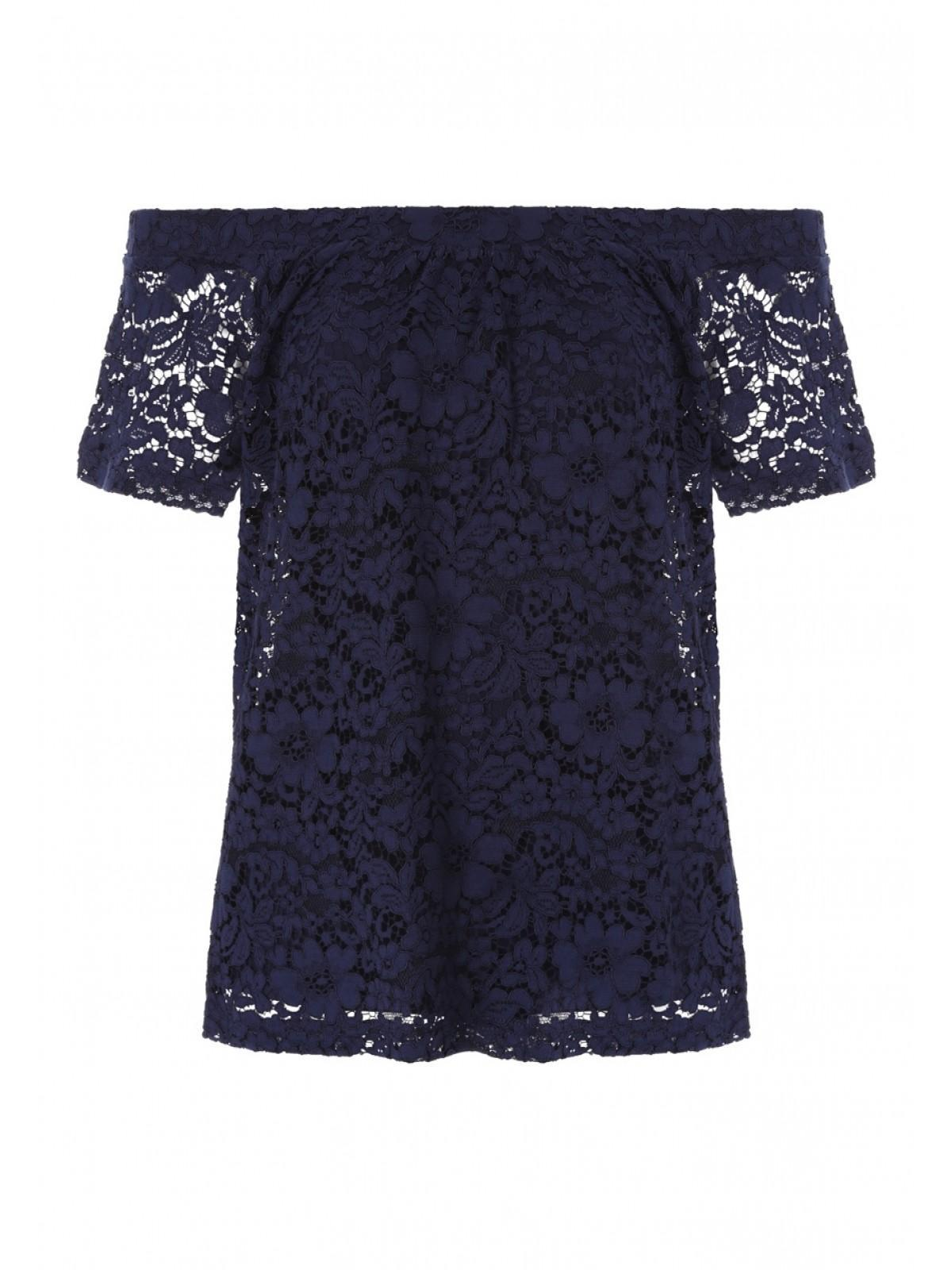 dee2b33c644 Home; Womens Navy Lace Bardot Top. Back. PreviousNext