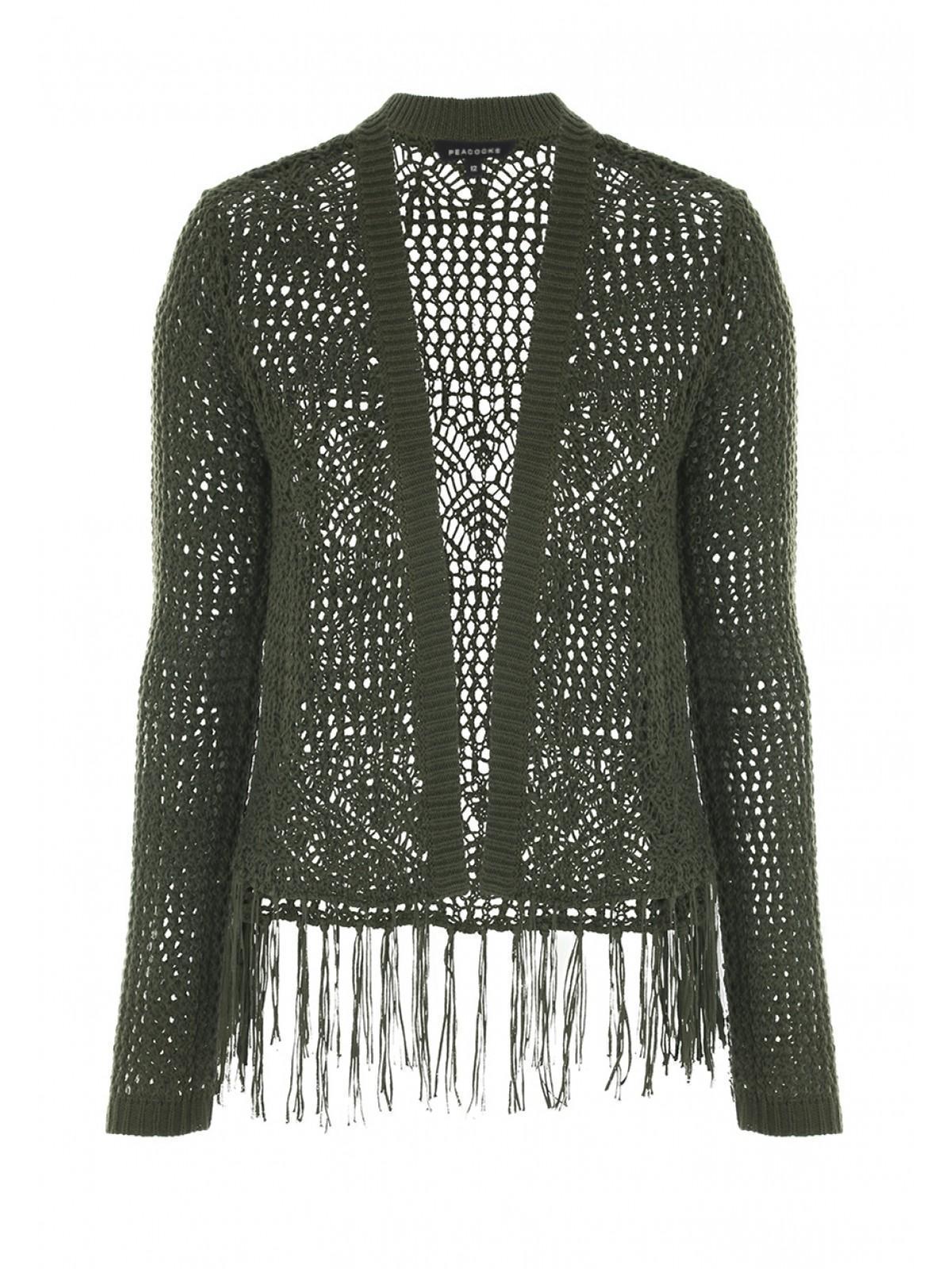 88a8a18a991 Home; Womens Khaki Cropped Crochet Cardigan. Back. PreviousNext