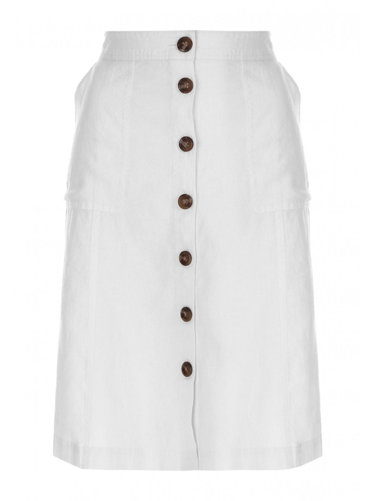 090bc3a55f6e Home; Womens White Linen Button Up Skirt. Back. PreviousNext