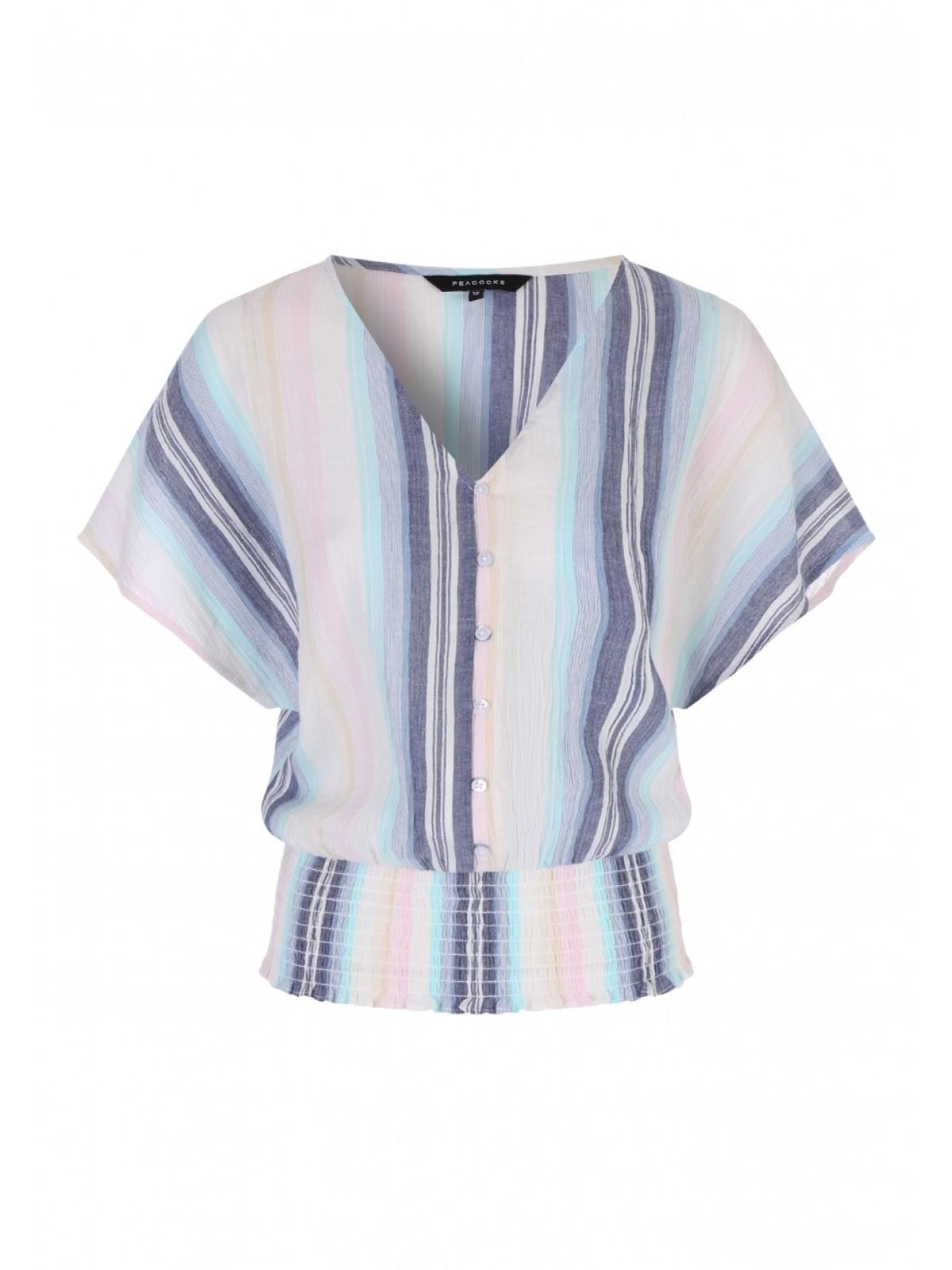 7f5759b70ec Home; Womens Blue Stripe Shirred Button Front Top. Back. PreviousNext