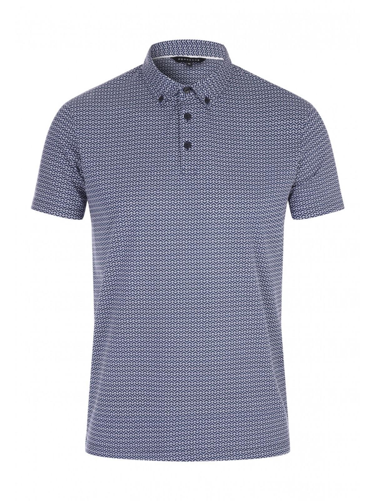 13b2b34f3 Mens Navy Geometric Smart Polo Shirt