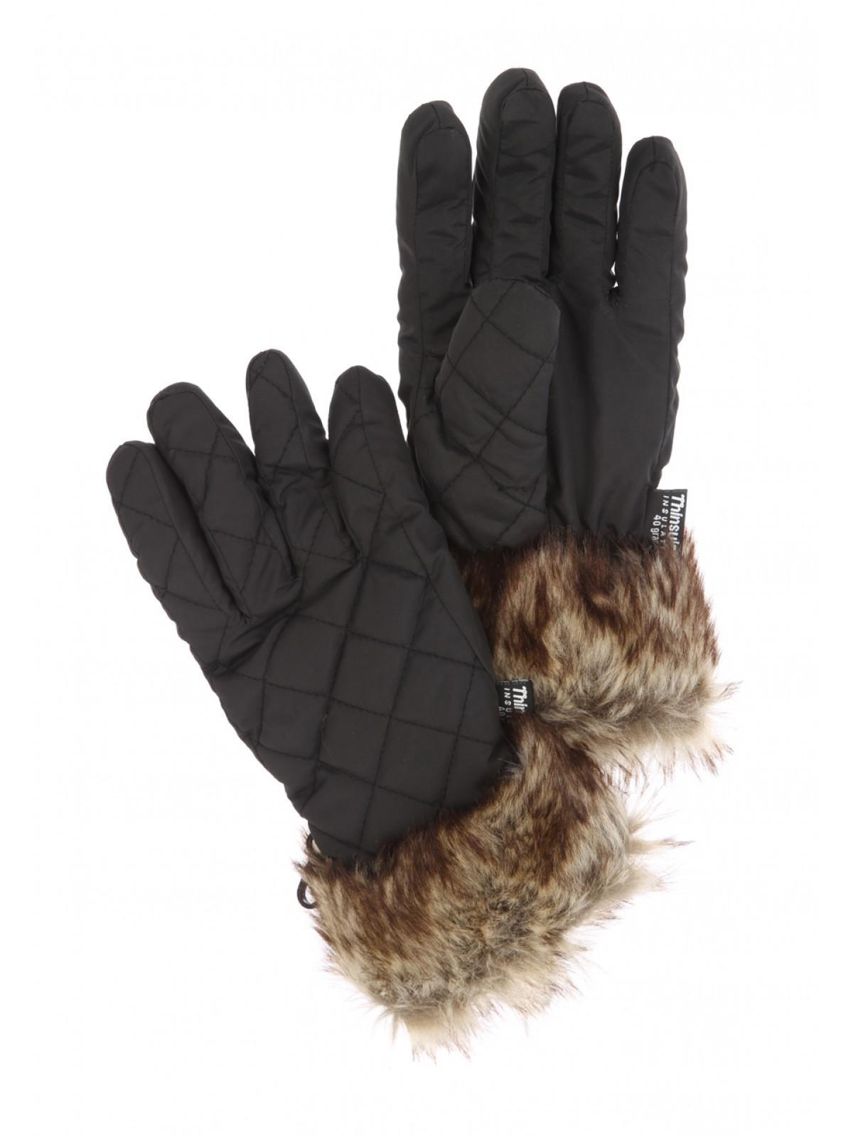 Womens black leather gloves uk - Womens Faux Fur Thinsulate Gloves