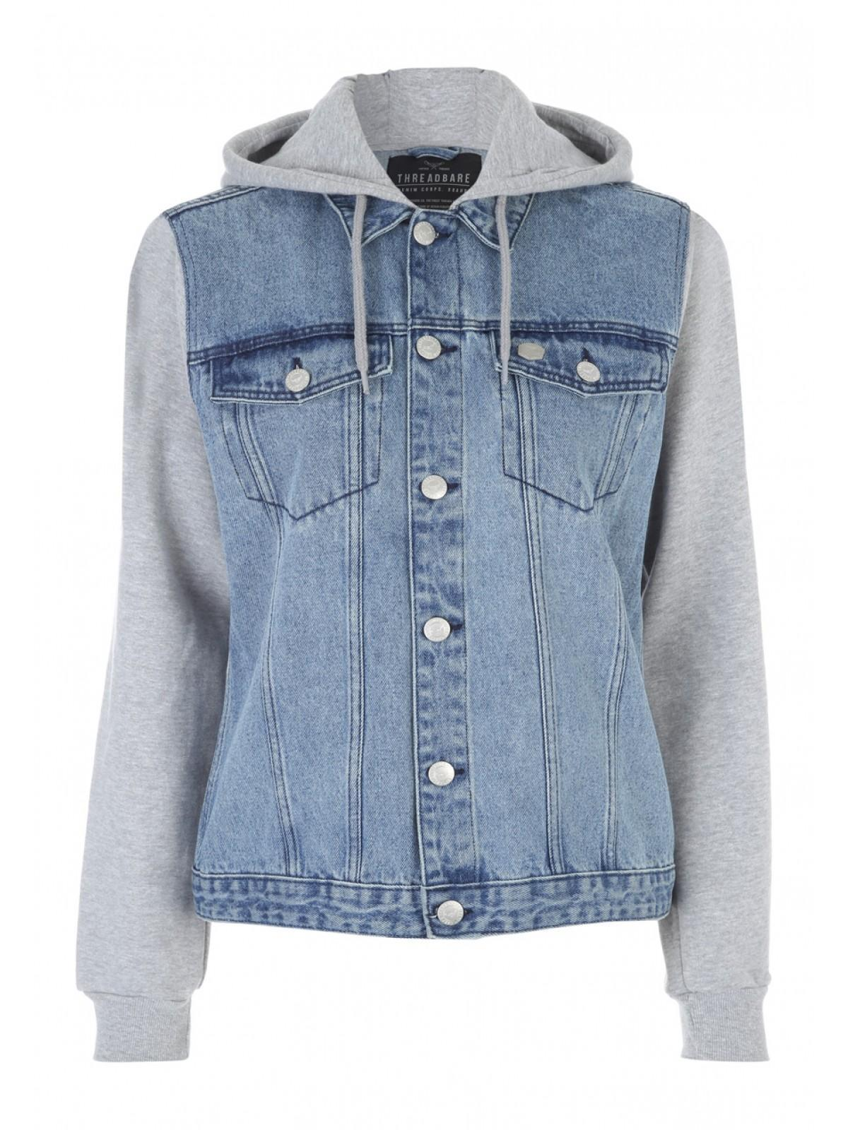 Mens Light Blue Hooded Denim Jacket | Peacocks