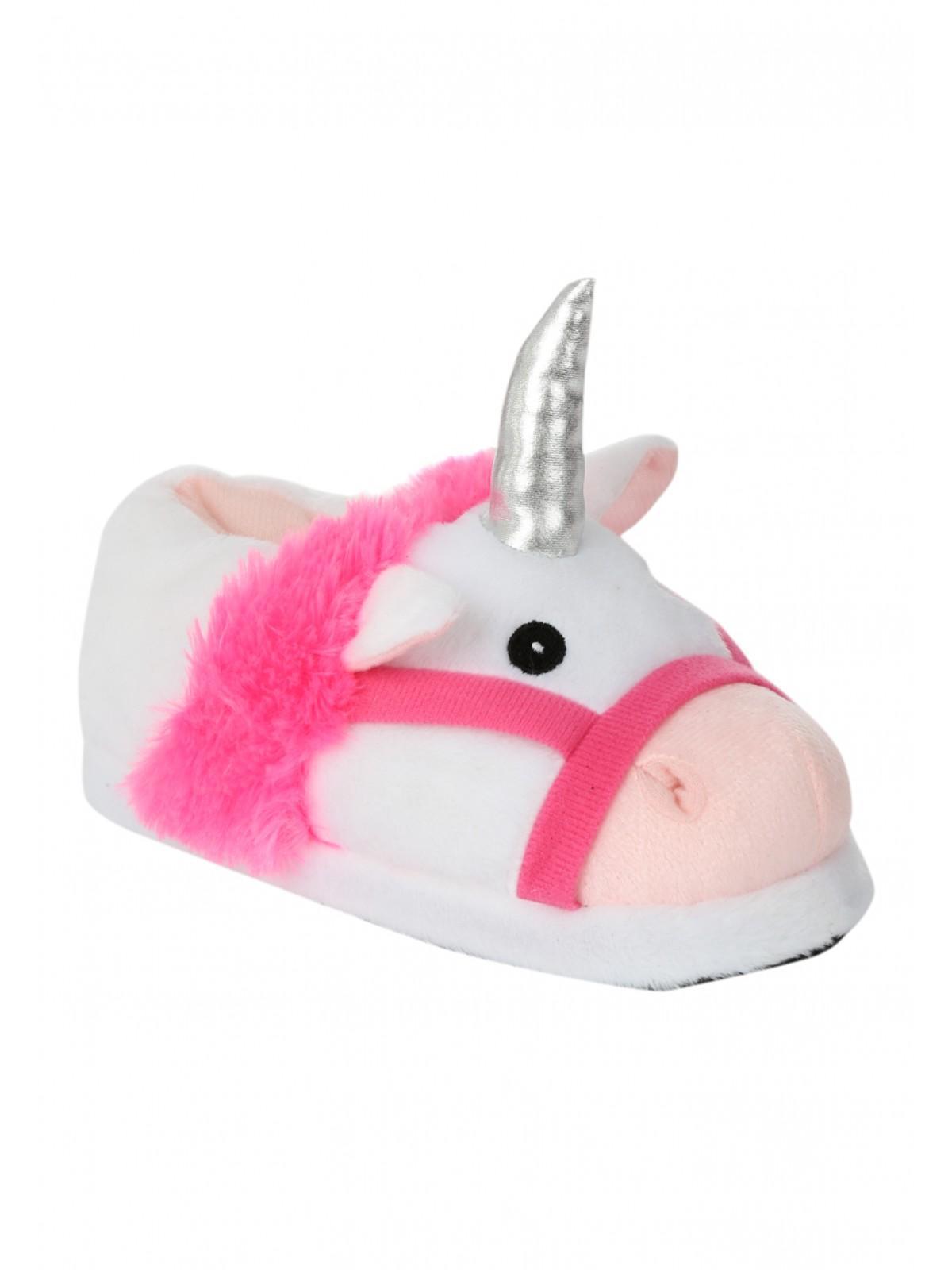 Womens Older Girls Novelty 3D Unicorn Slipper