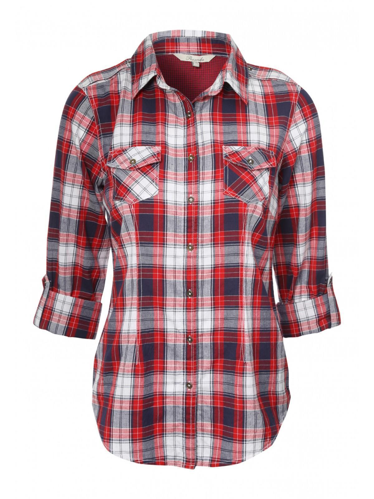 Womens Roll Up Sleeve Check Shirt | Peacocks