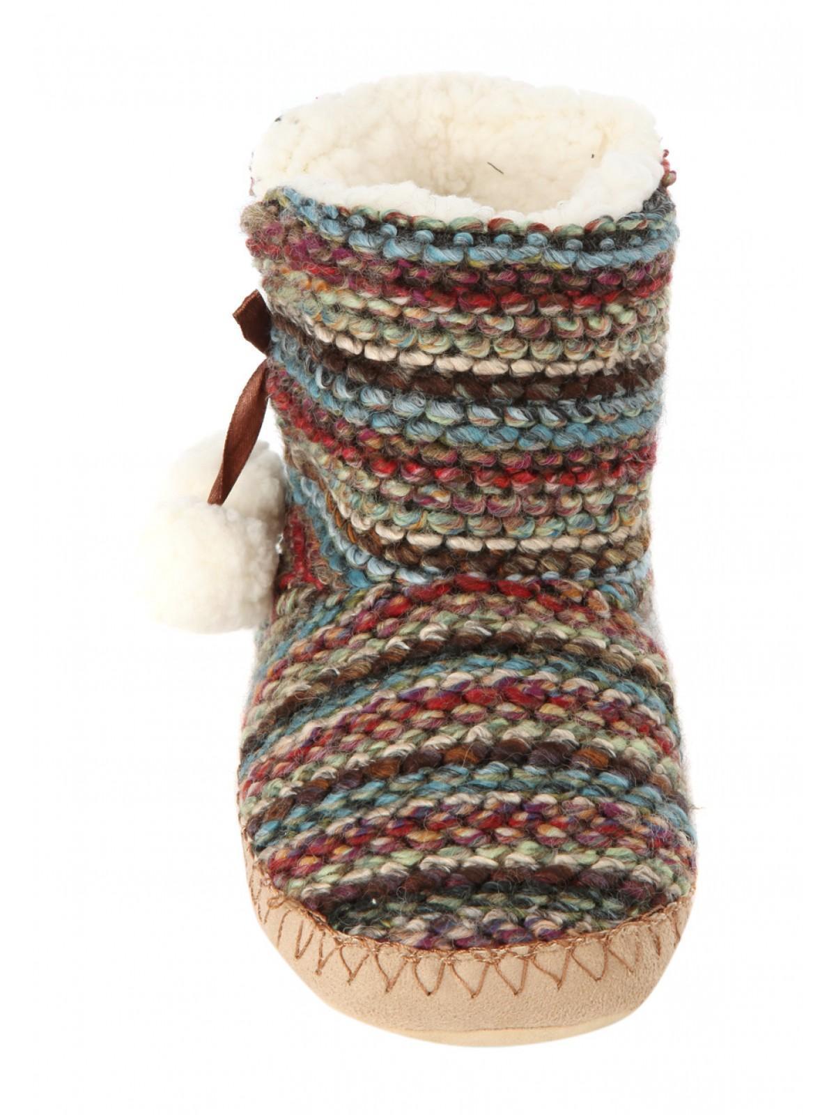 Womens Multi Knit Slipper Boots Peacocks