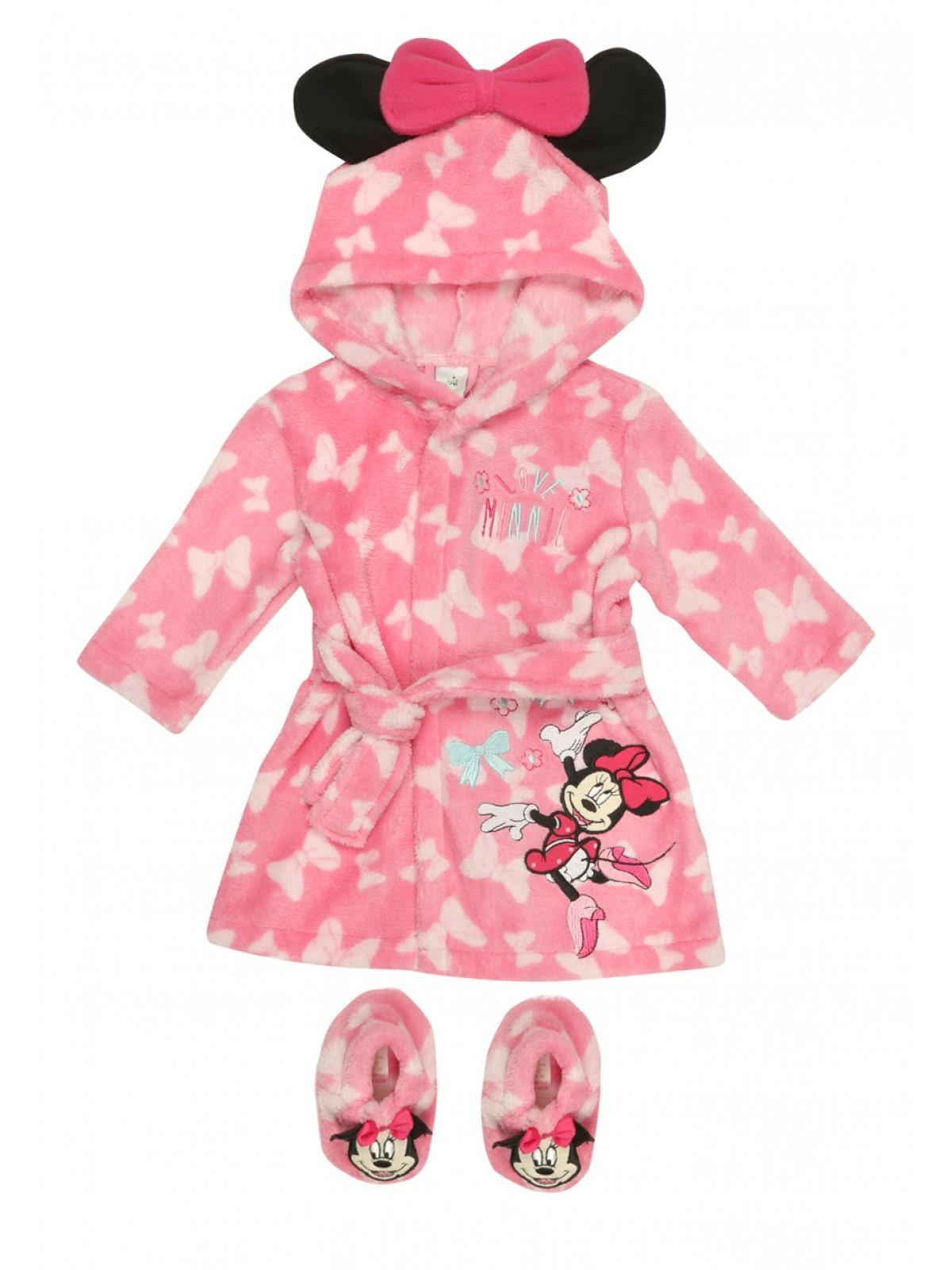 Womens Baby Girls Disney Minnie Mouse Dressing Gown & Booties