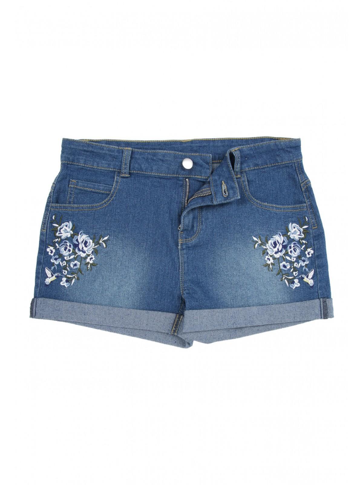 7be782c43b Girls Older Girls Blue Floral Embroidered Denim Shorts | Peacocks