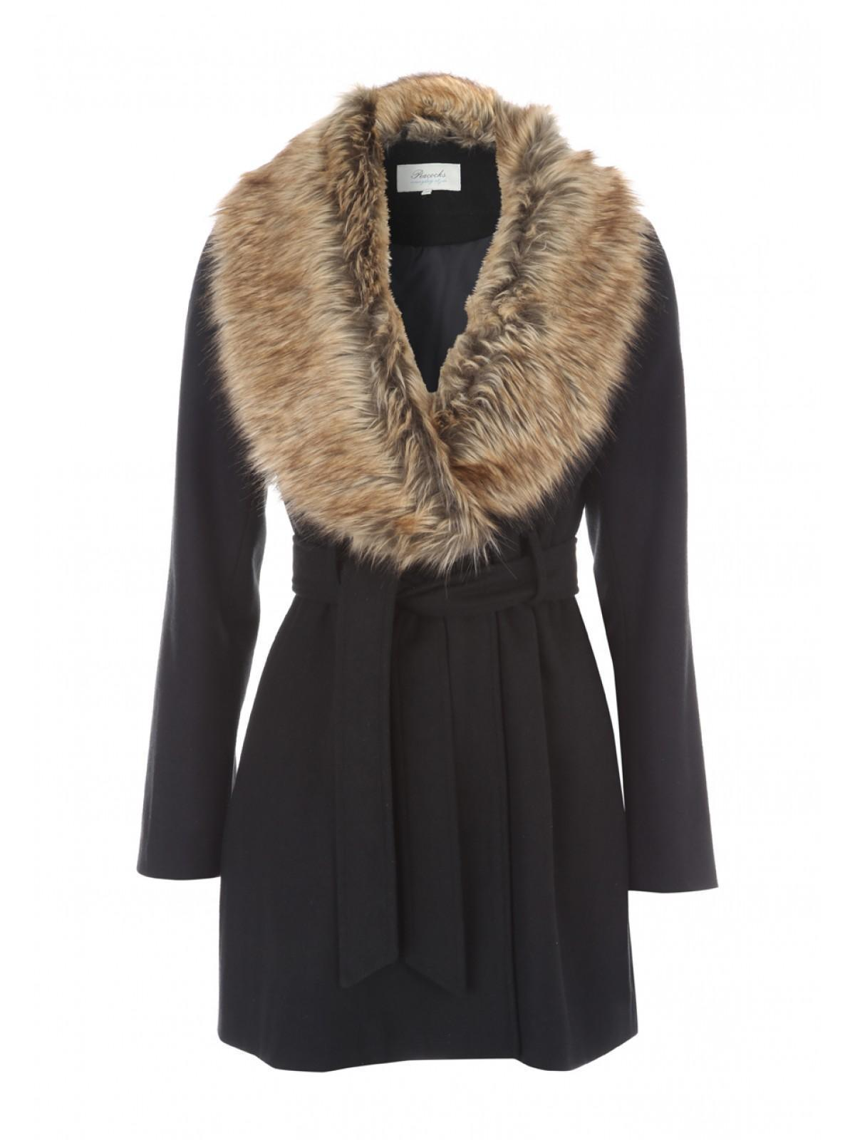 Womens Belted Faux Fur Collar Coat | Peacocks
