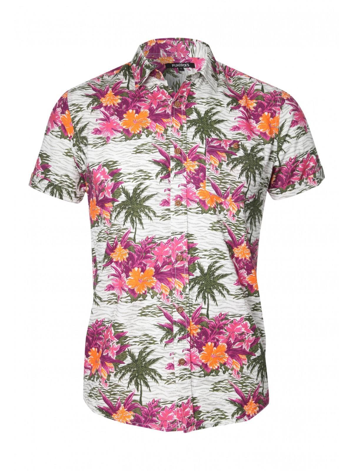Mens Short Sleeve Floral Hawaiian Shirt | Peacocks