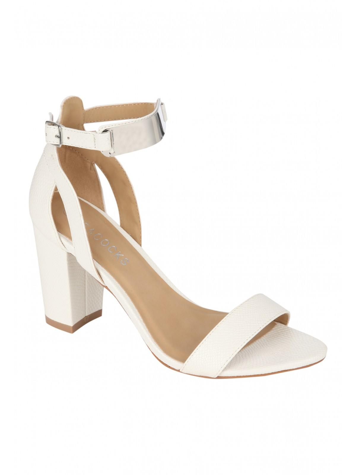 Sandales À Talons Bloc Blanc Glamour - Blanc 7IK5m