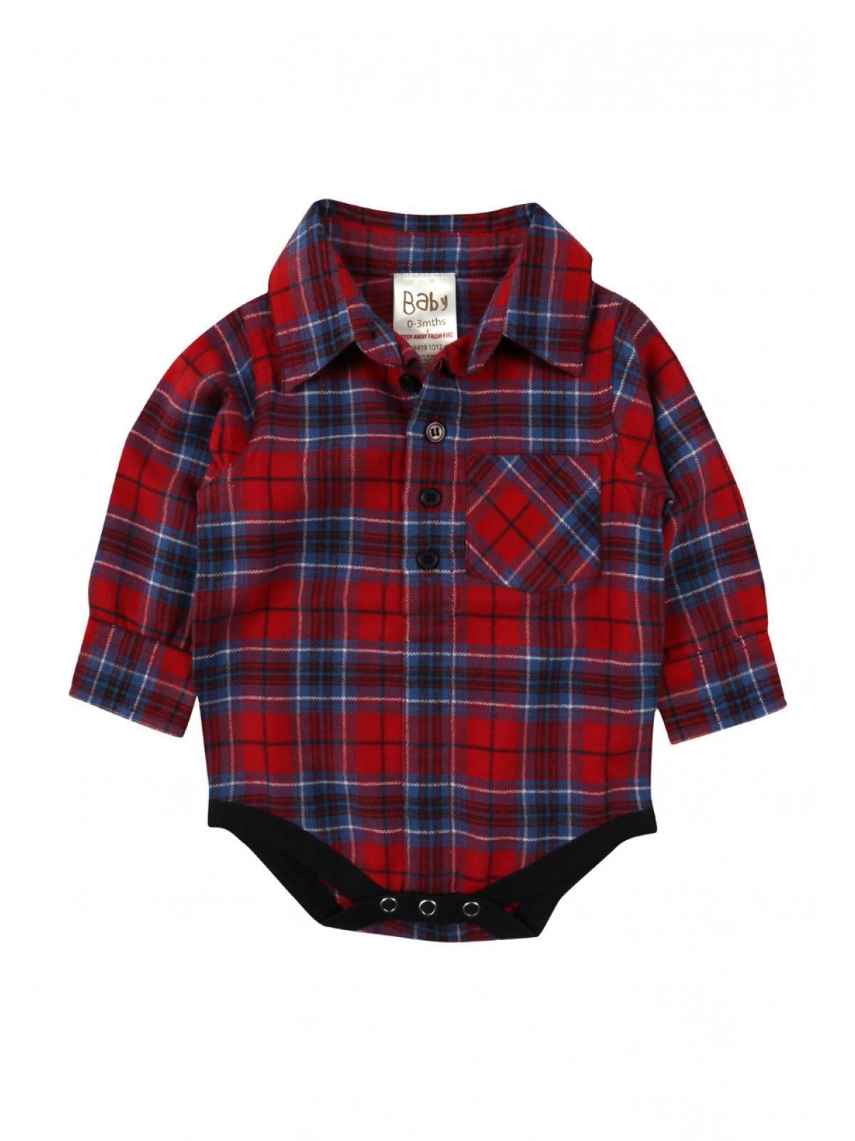Baby Boys Check Shirt Bodysuit