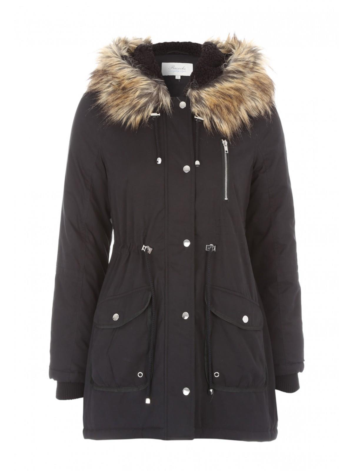 Womens Faux Fur Hood Parka Coat | Peacocks