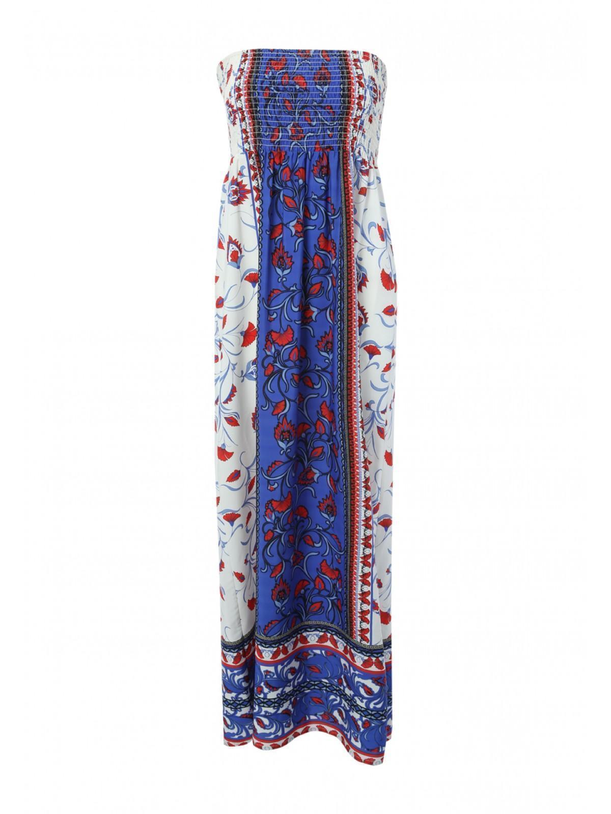 Womens Bandeau Shirred Maxi Dress | Peacocks