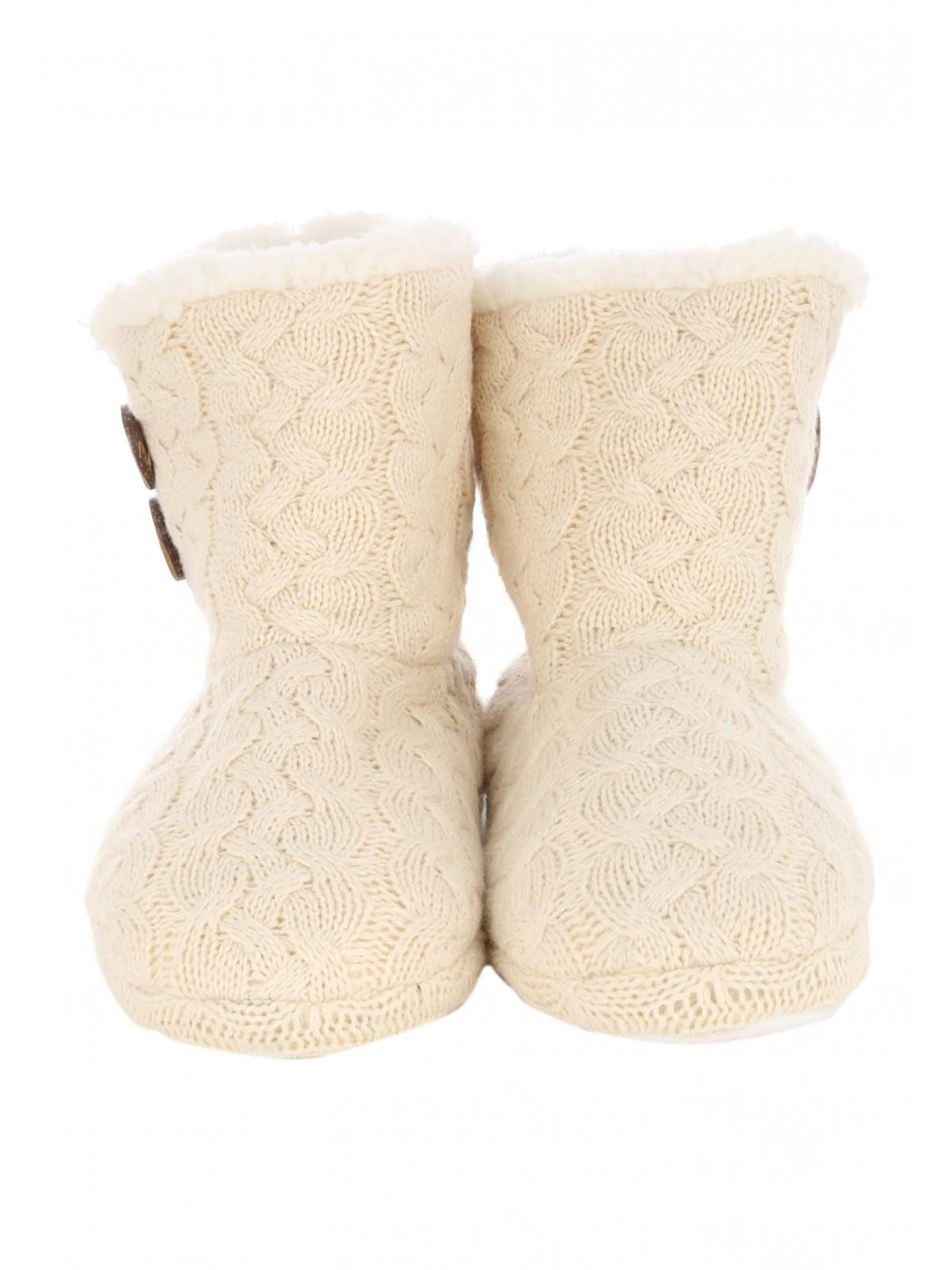 Womens Cable Knit Slipper Boots Peacocks