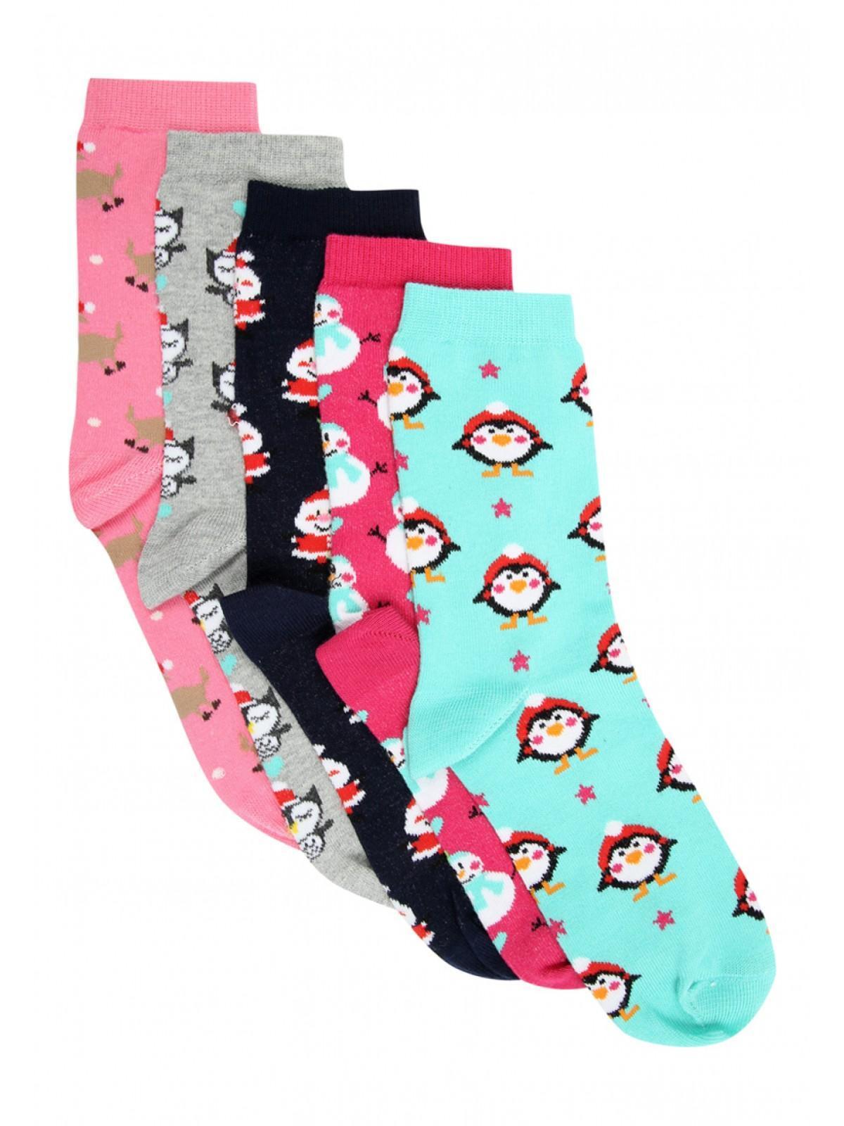Womens 5pk Christmas Design Socks