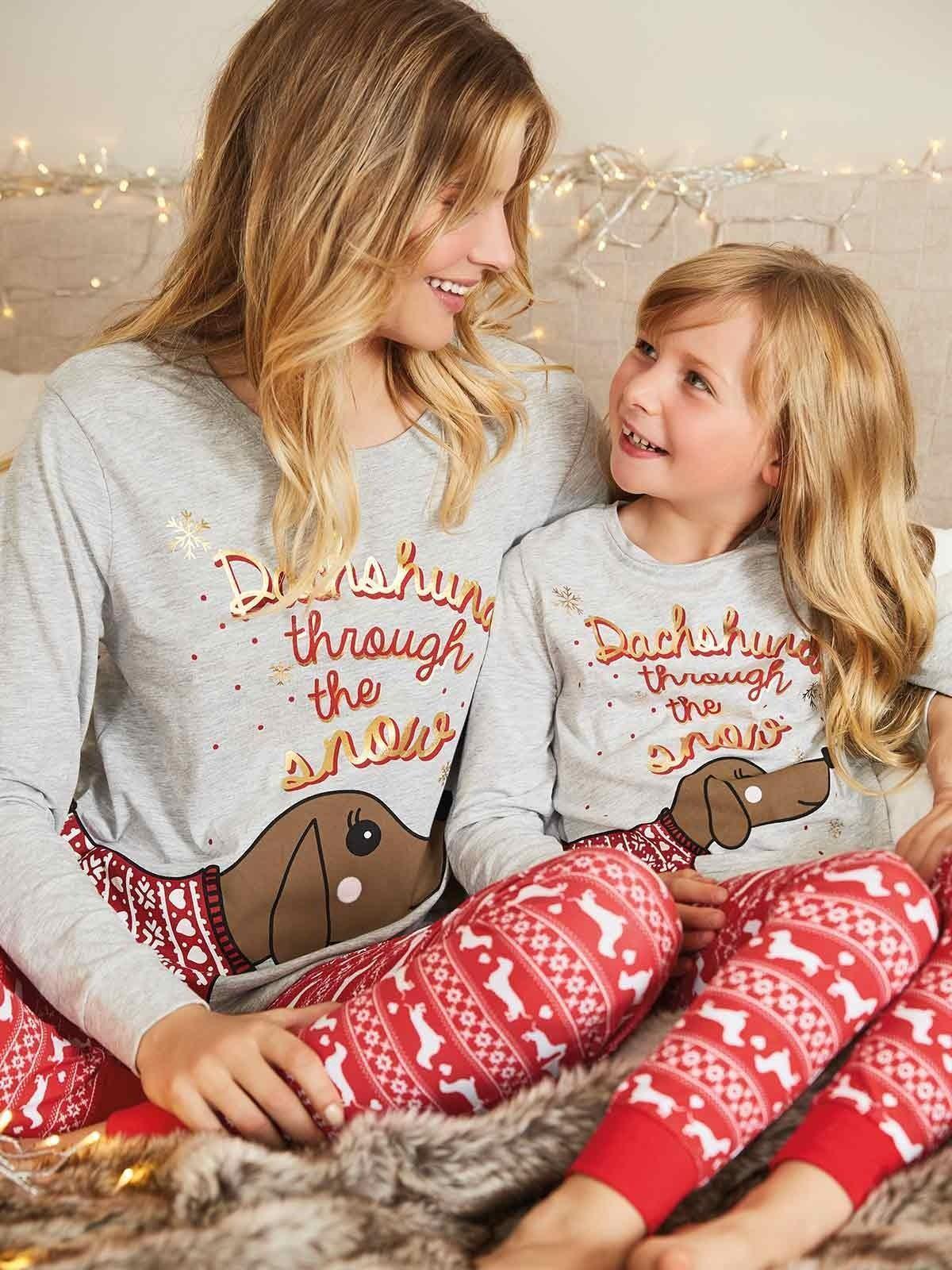 Older Girls Grey Sausage Dog Pyjama Set