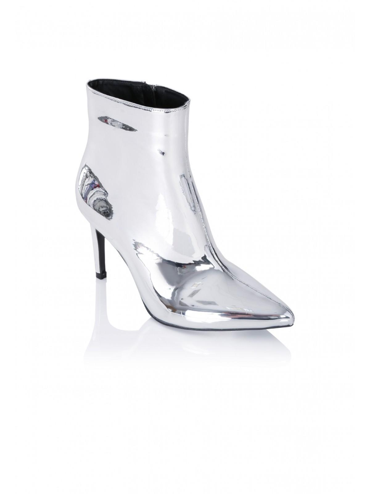 5b4d205ea47 Home; Womens Silver Mirrored Stiletto Ankle Boots. Back. PreviousNext