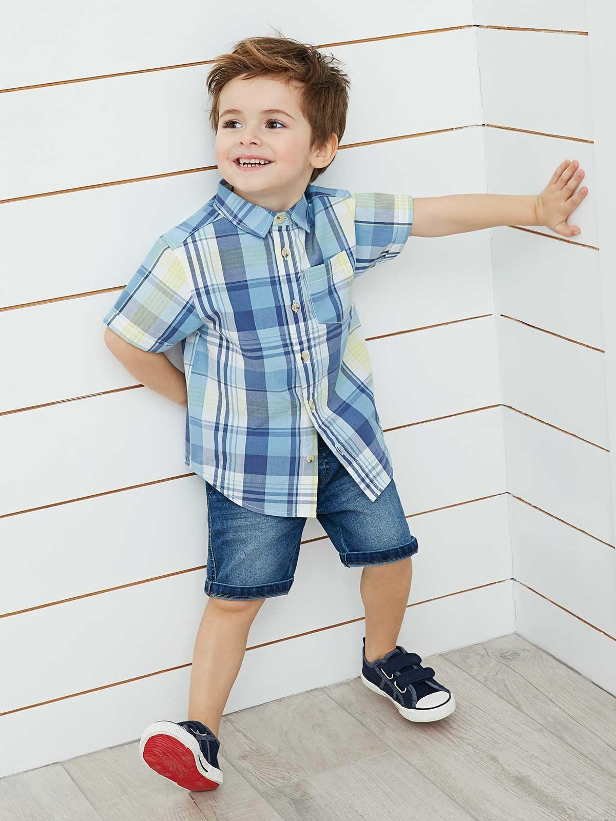 Young Boys Blue Checked Shirt