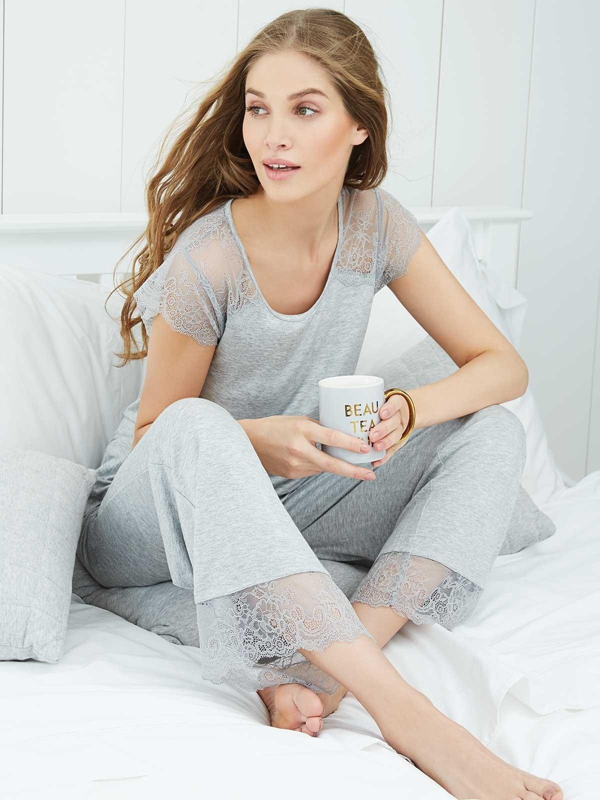 Womens Grey Lace Insert Pyjamas