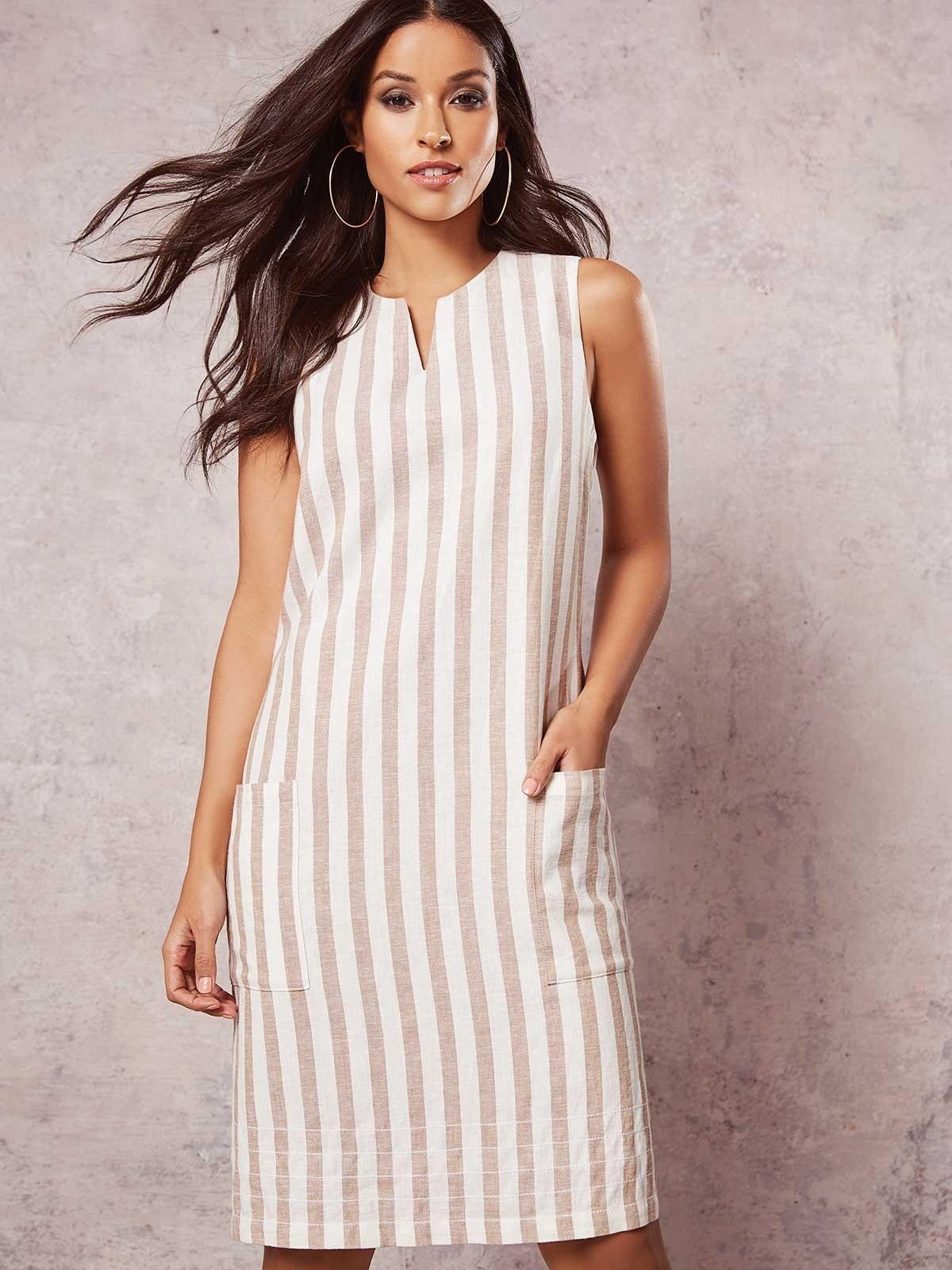 This striped linen shift dress was one of our top-rated products in April- for good reason!