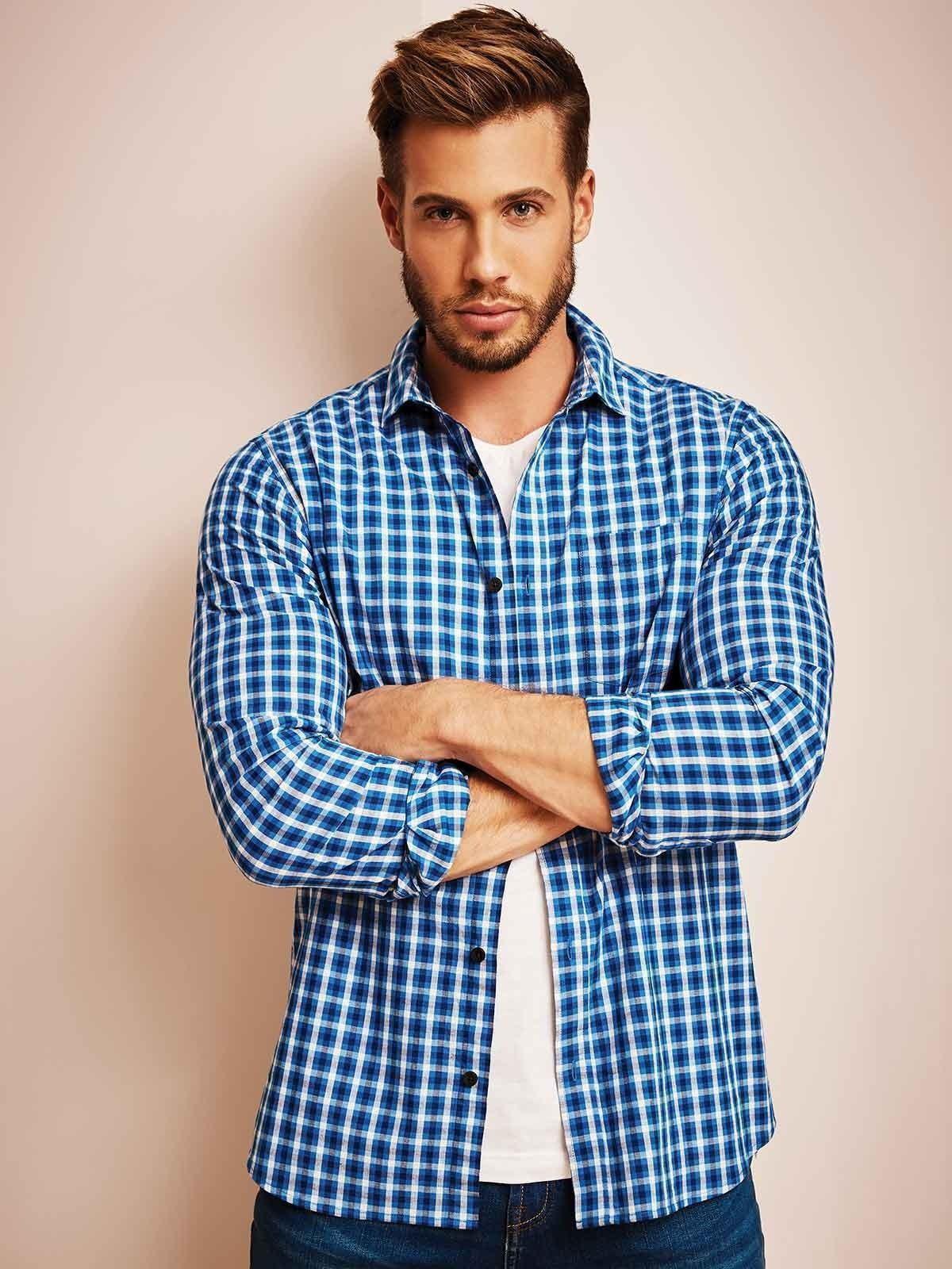 Mens Blue Checked Long Sleeve Shirt