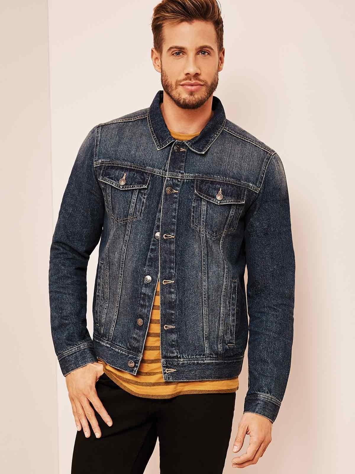 Mens Dark Blue Denim Jacket